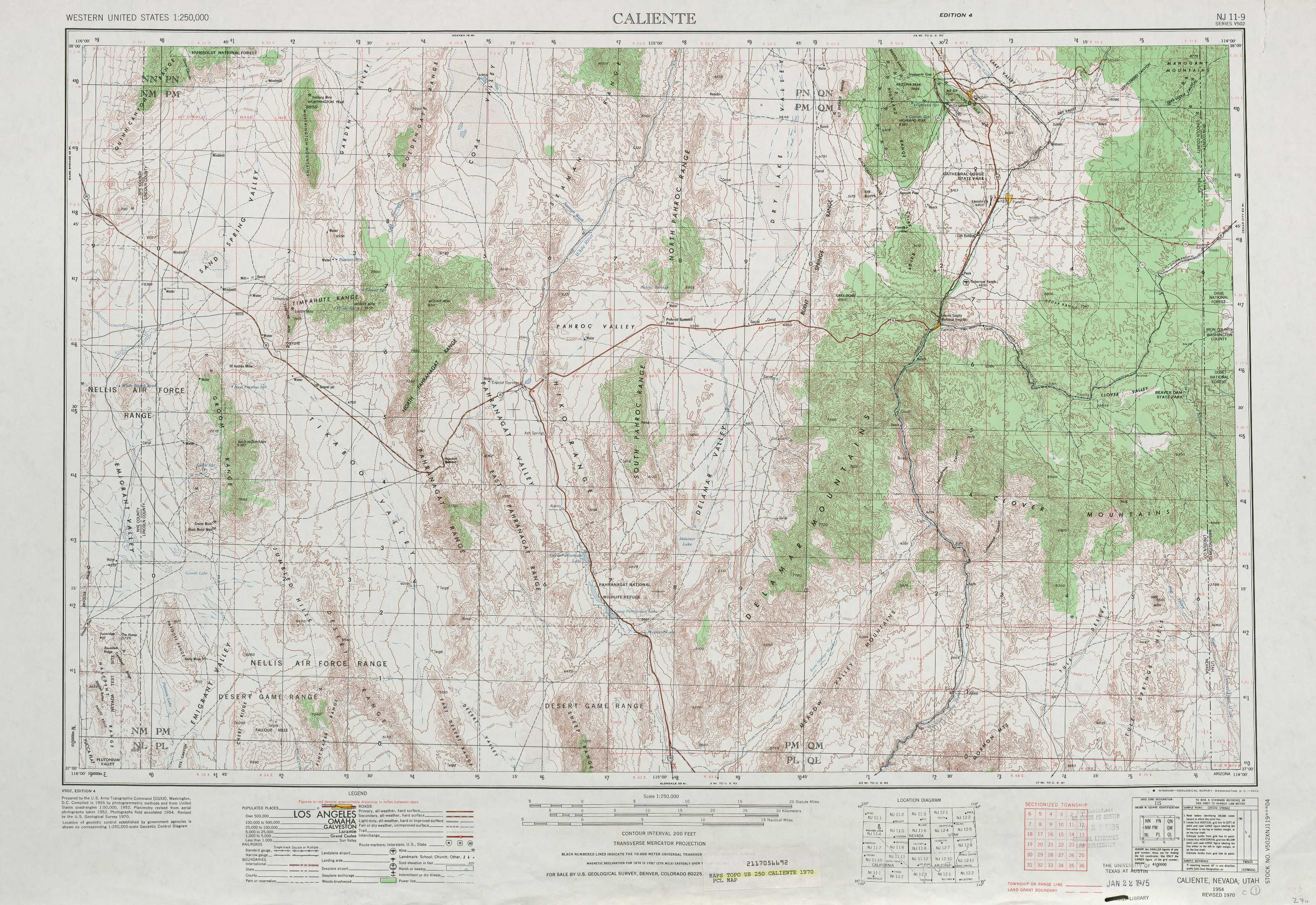 Topographic Map Of Nevada.Caliente Topographic Maps Nv Ut Usgs Topo Quad 37114a1 At 1