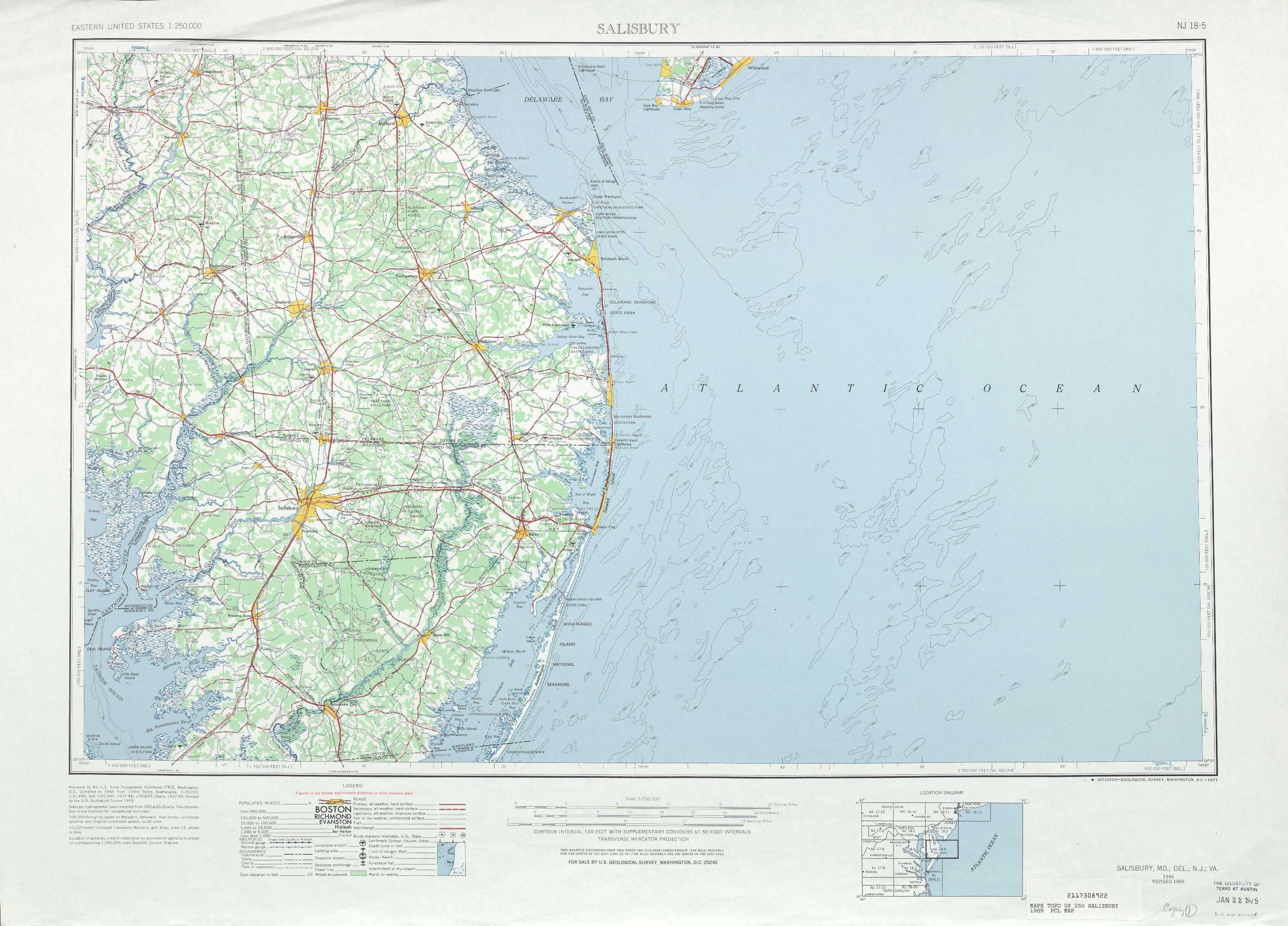 Salisbury Topographic Maps MD DE VA  USGS Topo Quad