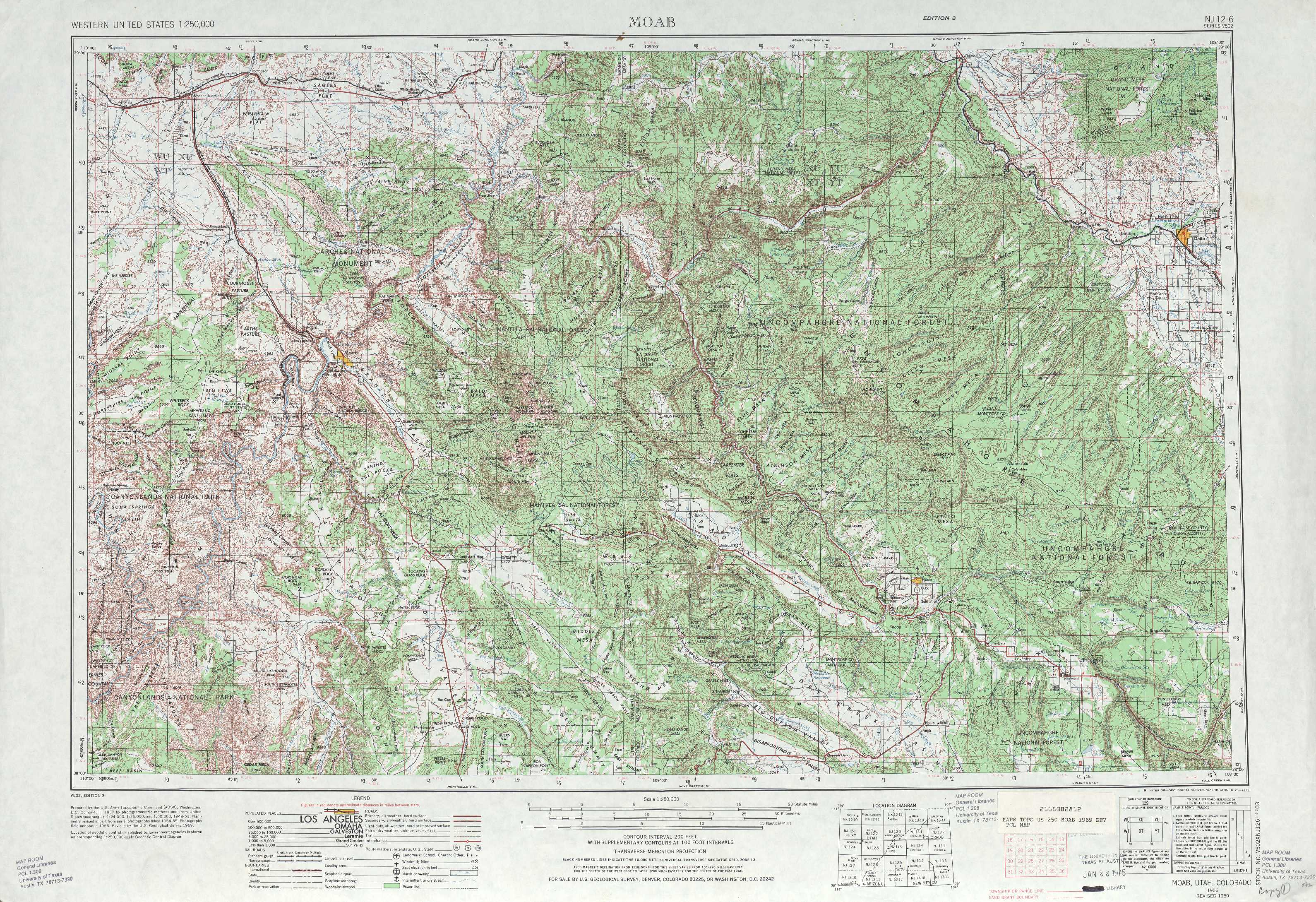 Moab Topographic Maps CO UT USGS Topo Quad A At - Us topological map