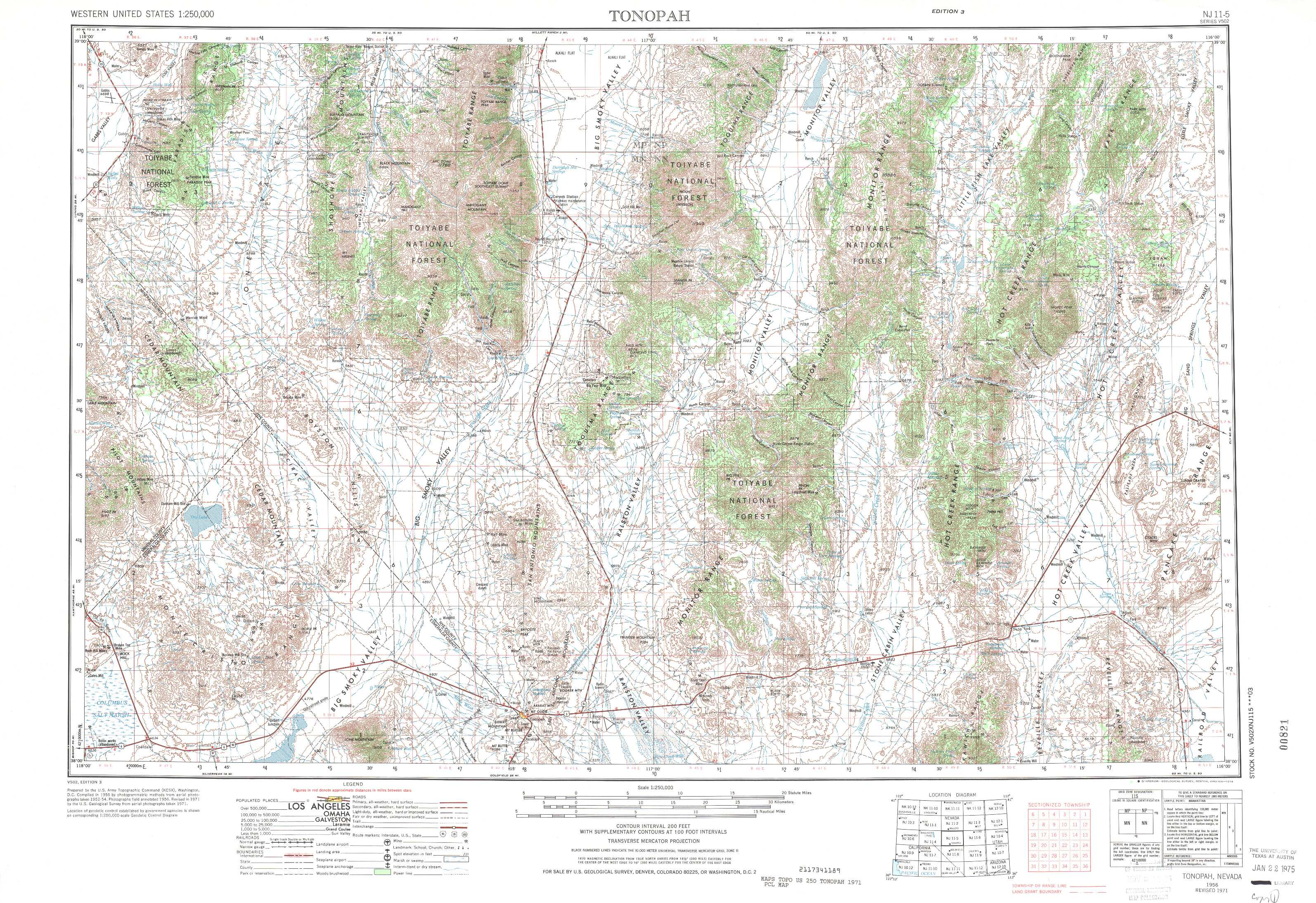 Tonopah Topographic Maps NV  USGS Topo Quad 38116a1 At 1