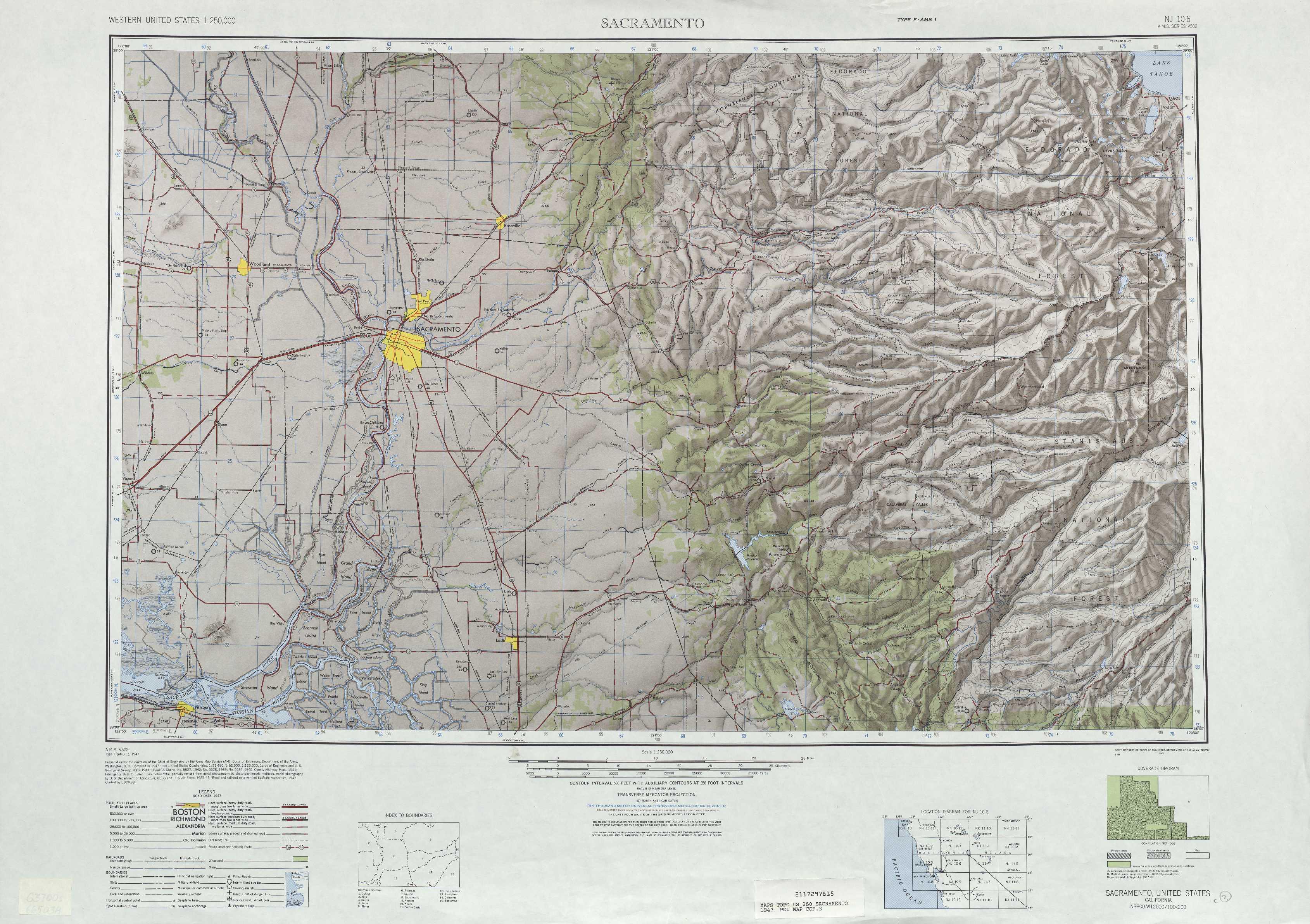 Sacramento Topographic Maps Ca Usgs Topo Quad 38120a1