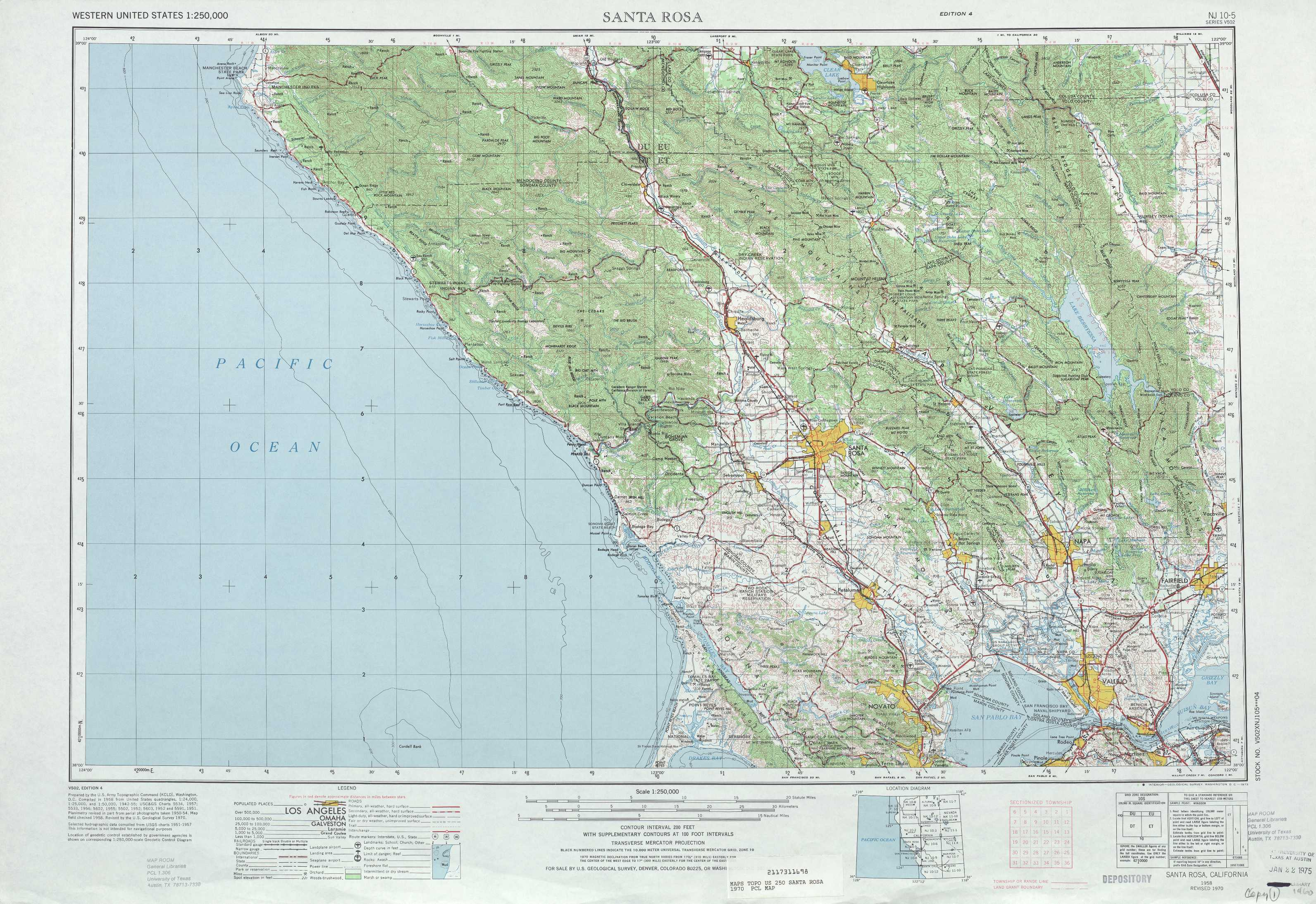 Santa Rosa topographic maps, CA - USGS Topo Quad 38122a1 at 1 ...