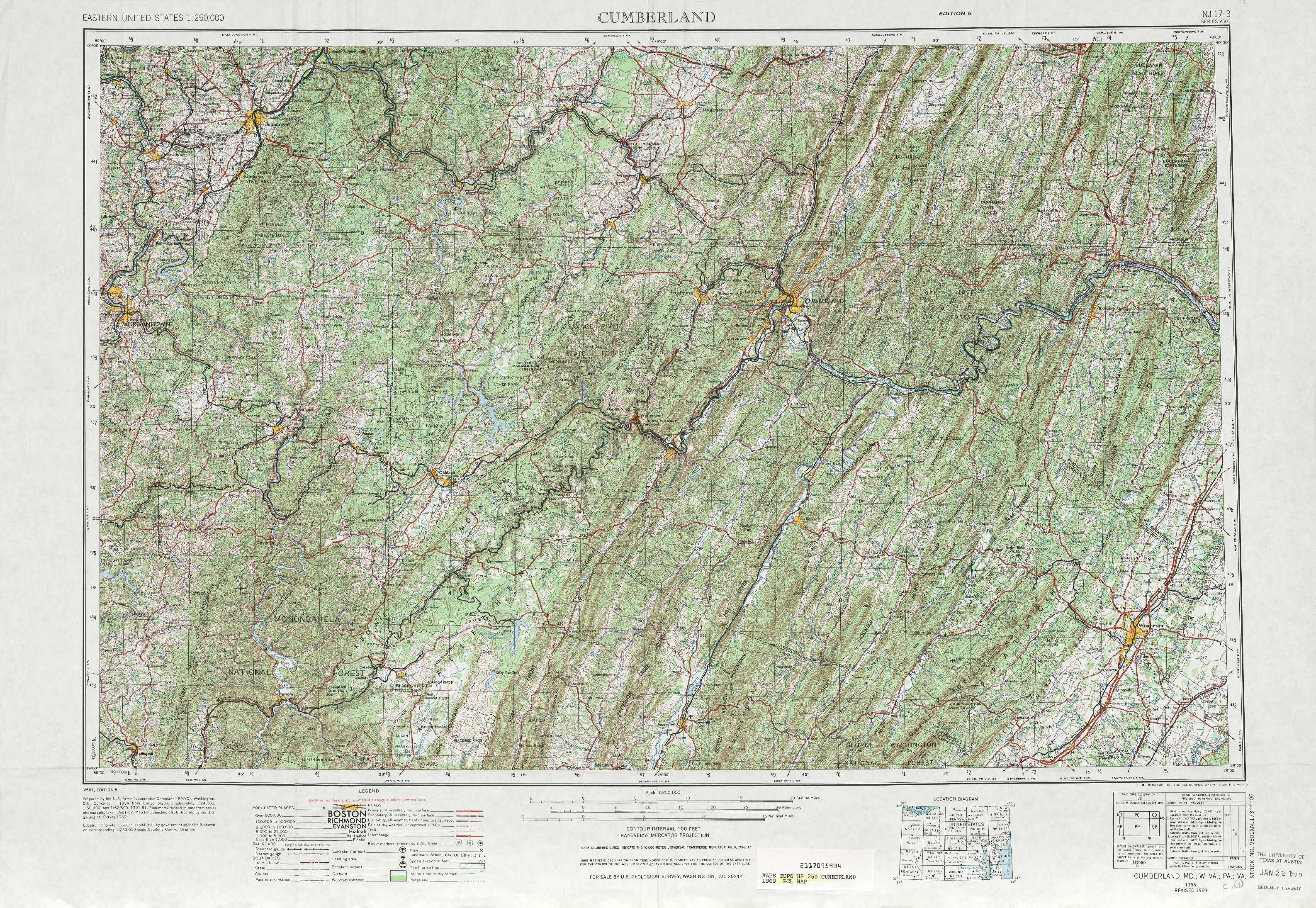 Cumberland Topographic Maps WV PA MD VA  USGS Topo