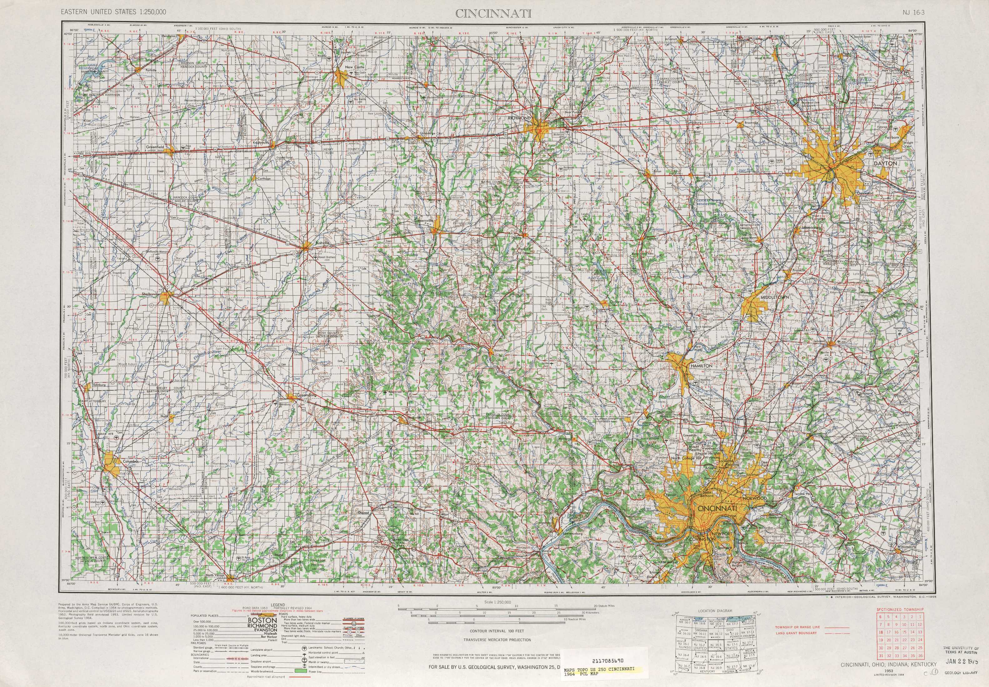 Cincinnati Topographic Maps In Oh Ky Usgs Topo Quad 39084a1 At