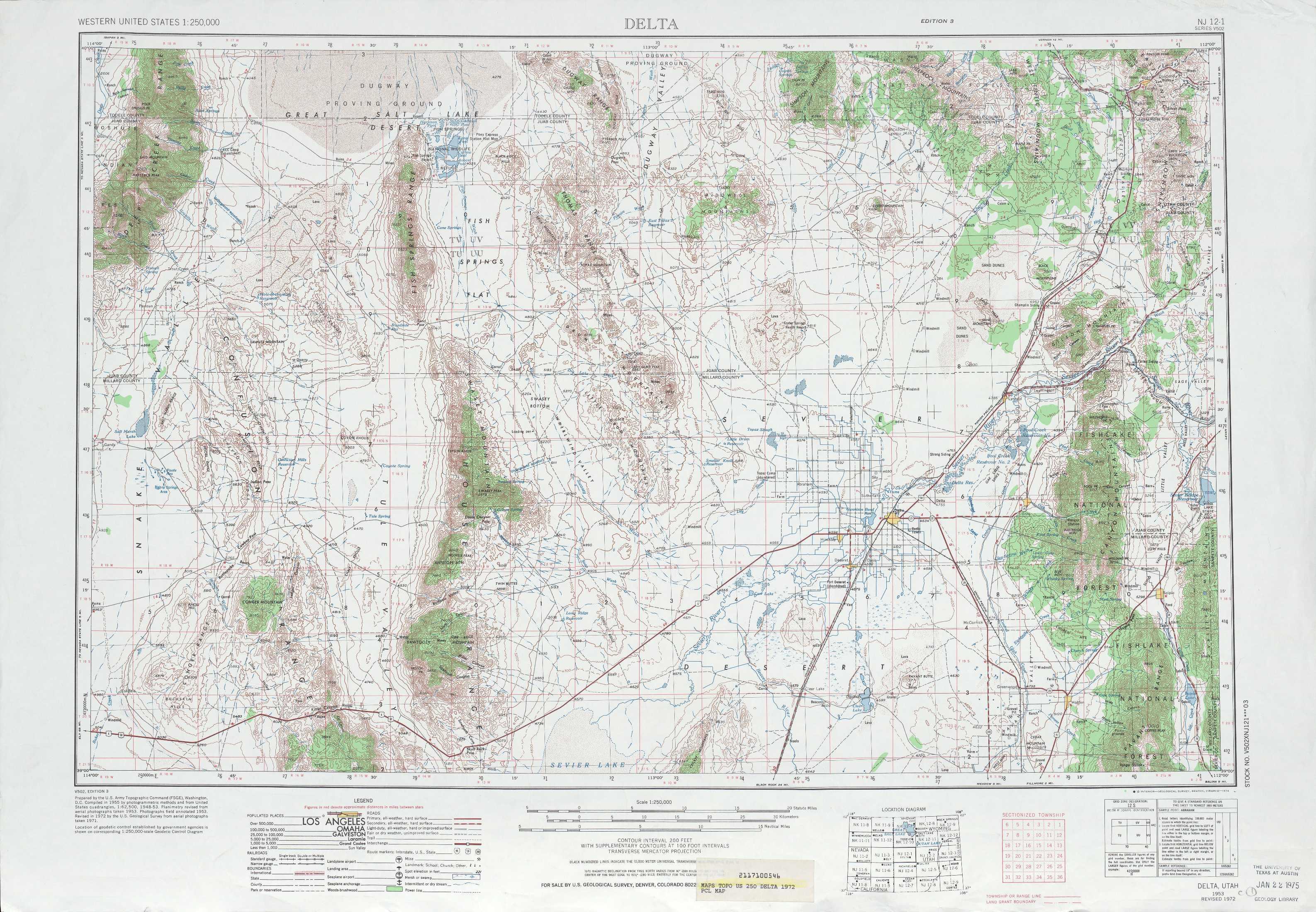Delta Topographic Maps UT USGS Topo Quad A At Scale - Topographic map of utah