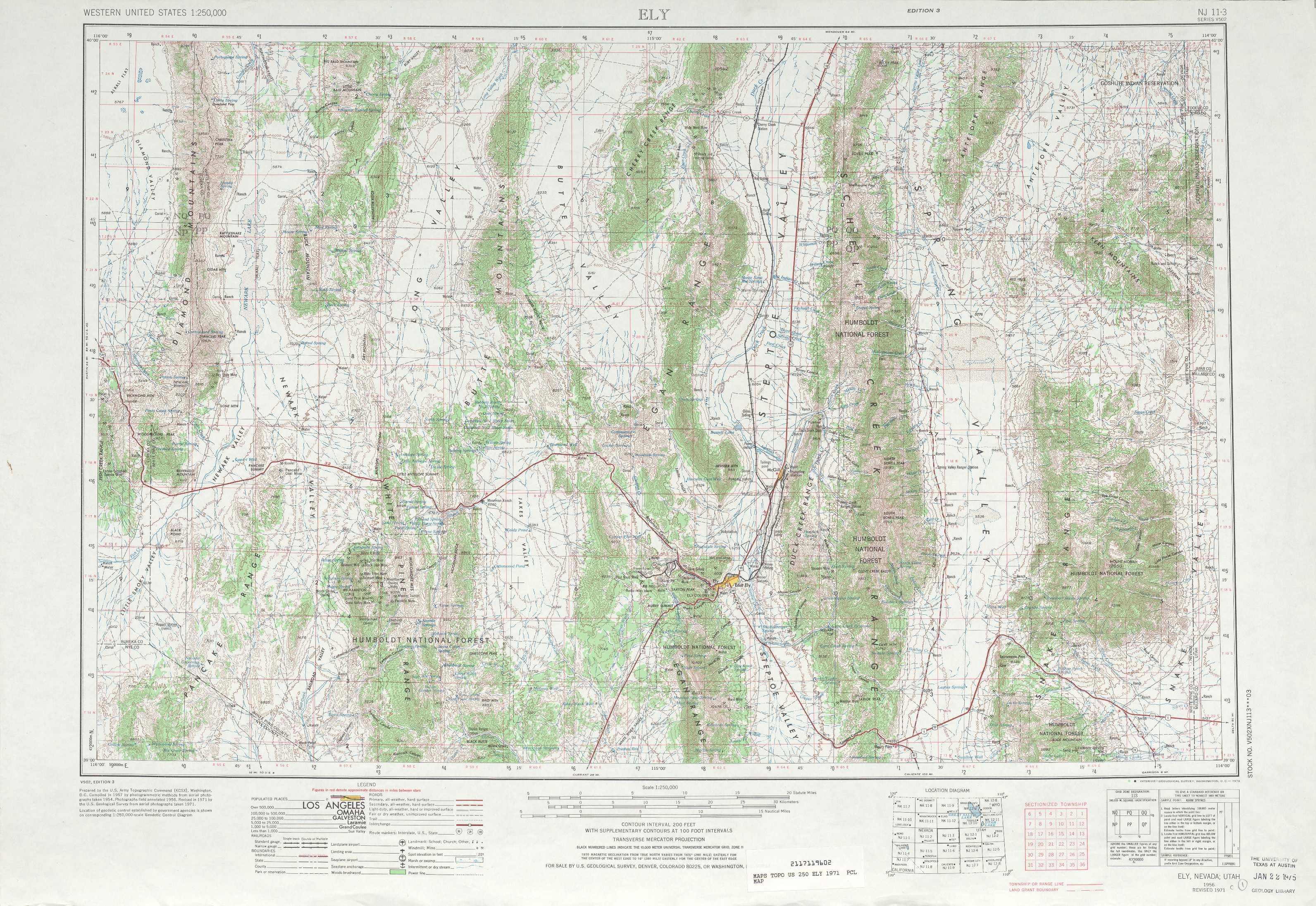 Ely Topographic Maps Nv Ut Usgs Topo Quad 39114a