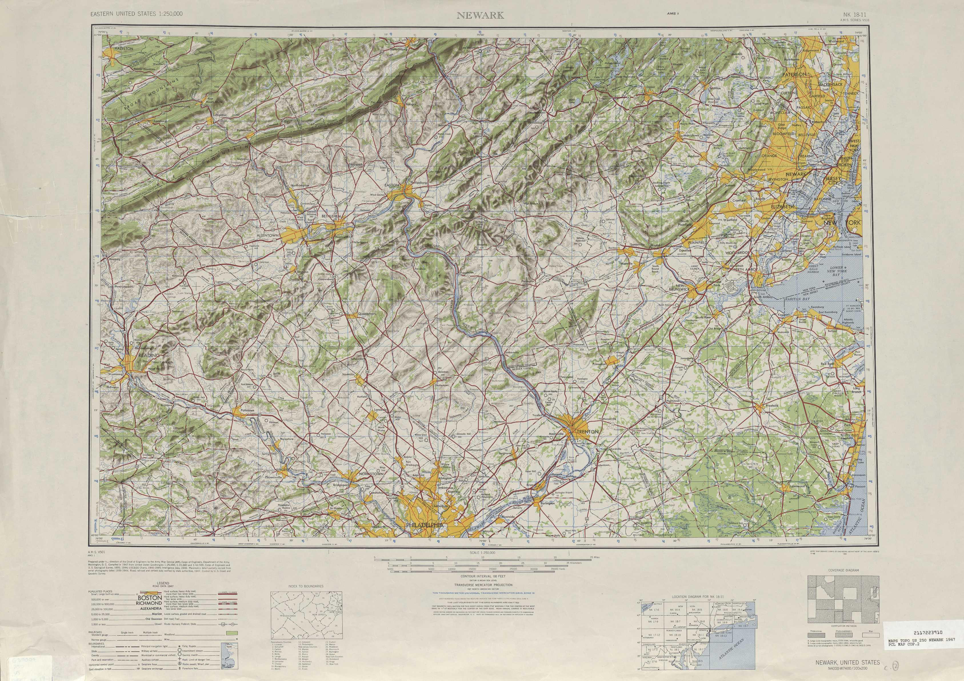 Newark Topographic Maps PA NJ NY USGS Topo Quad A At - Topographical map of pa