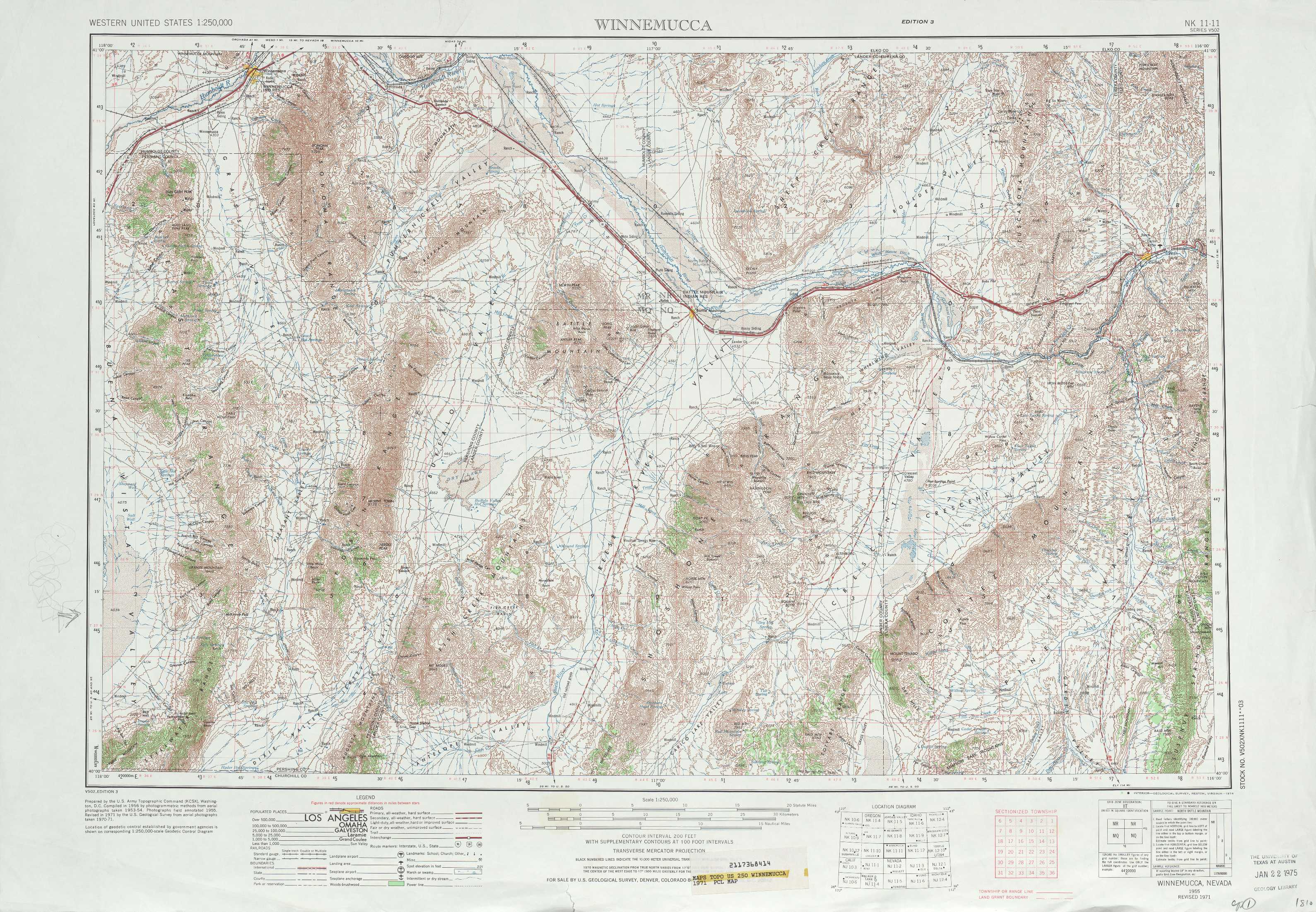 Topographic Map Of Nevada.Winnemucca Topographic Maps Nv Usgs Topo Quad 40116a1 At 1