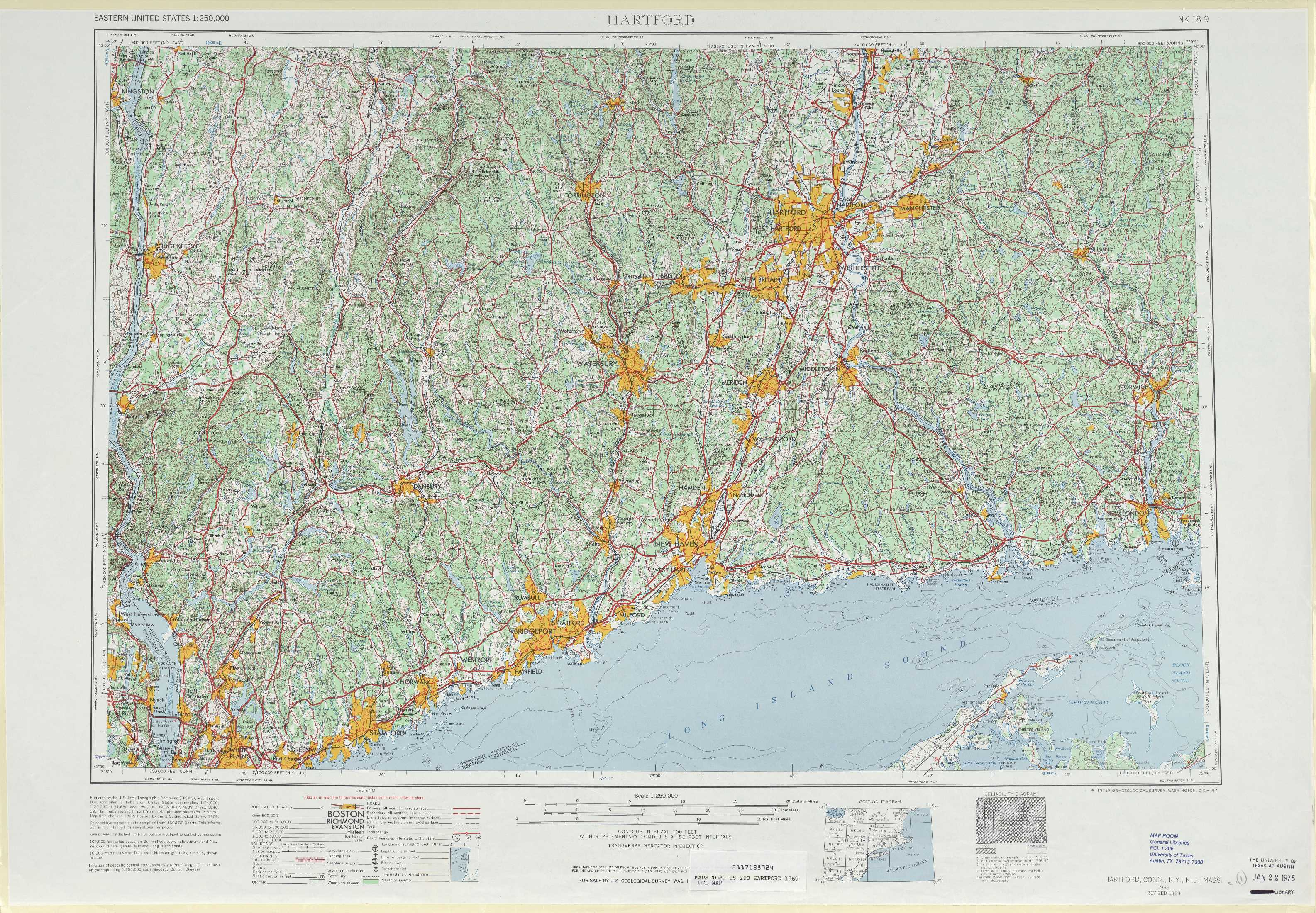 Hartford topographic maps, CT, NY   USGS Topo Quad 41072a1 at 1