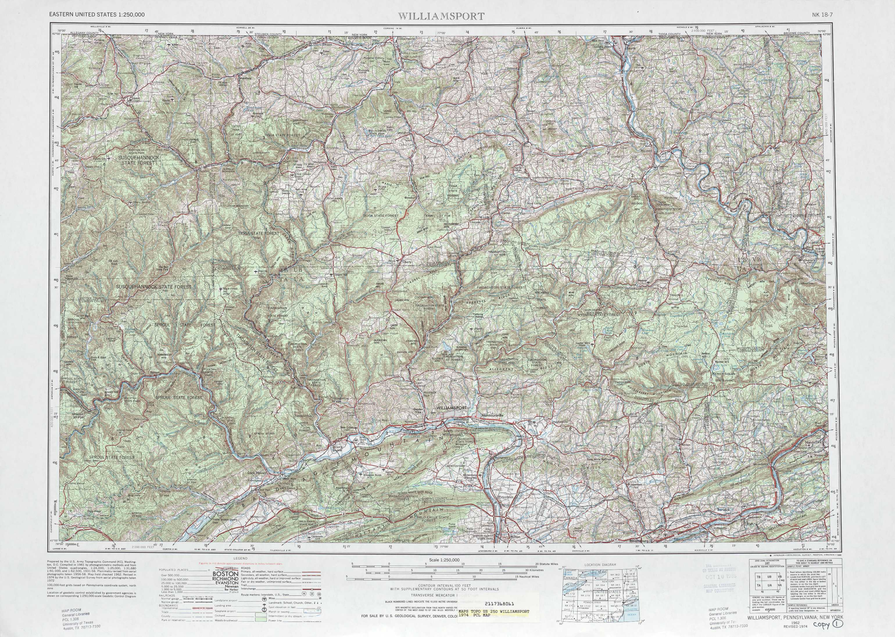 Williamsport Topographic Maps PA USGS Topo Quad A At - Topographic map of southeast us