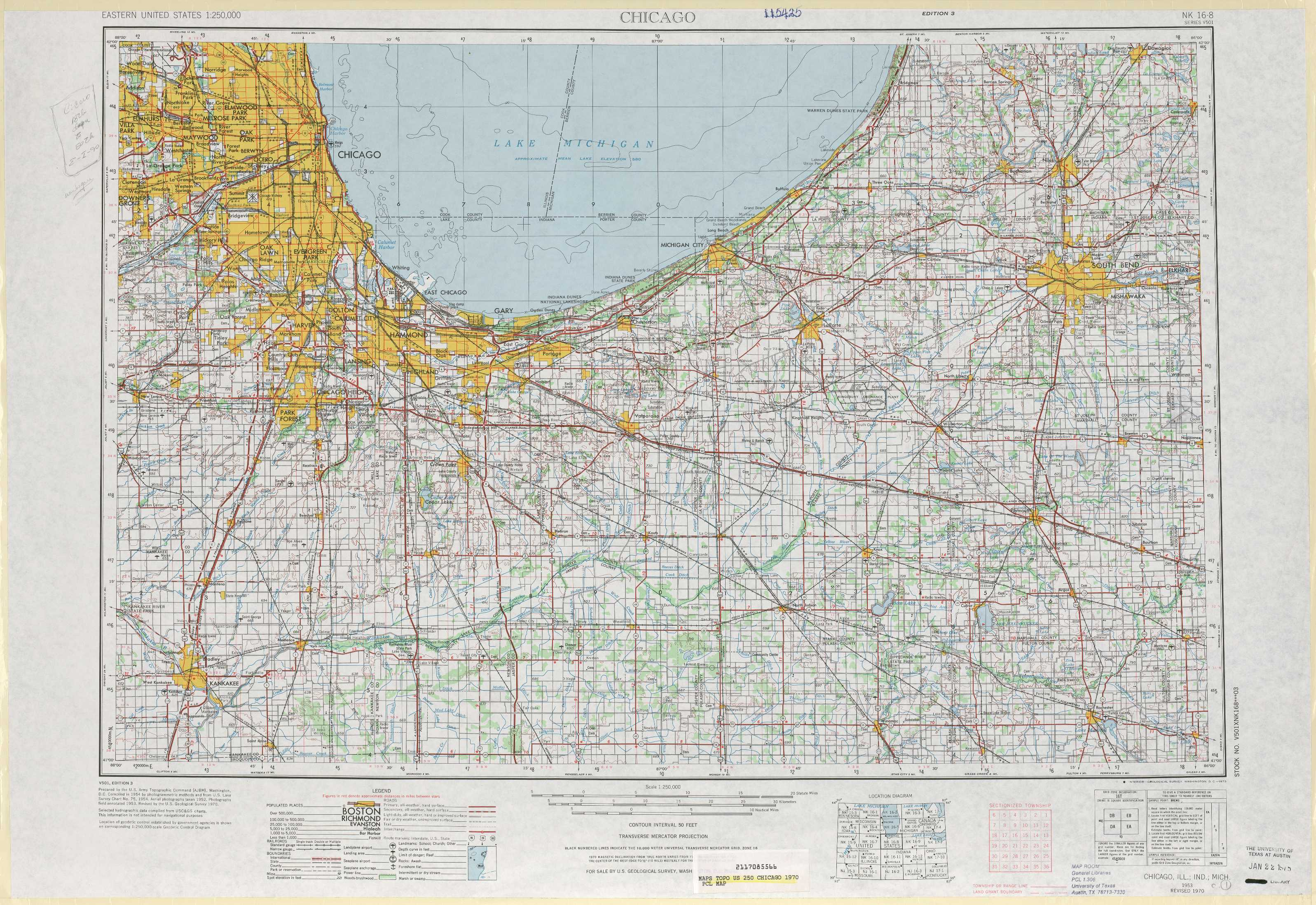 Chicago Topographic Maps In Il Mi Usgs Topo Quad 41086a1 At 1