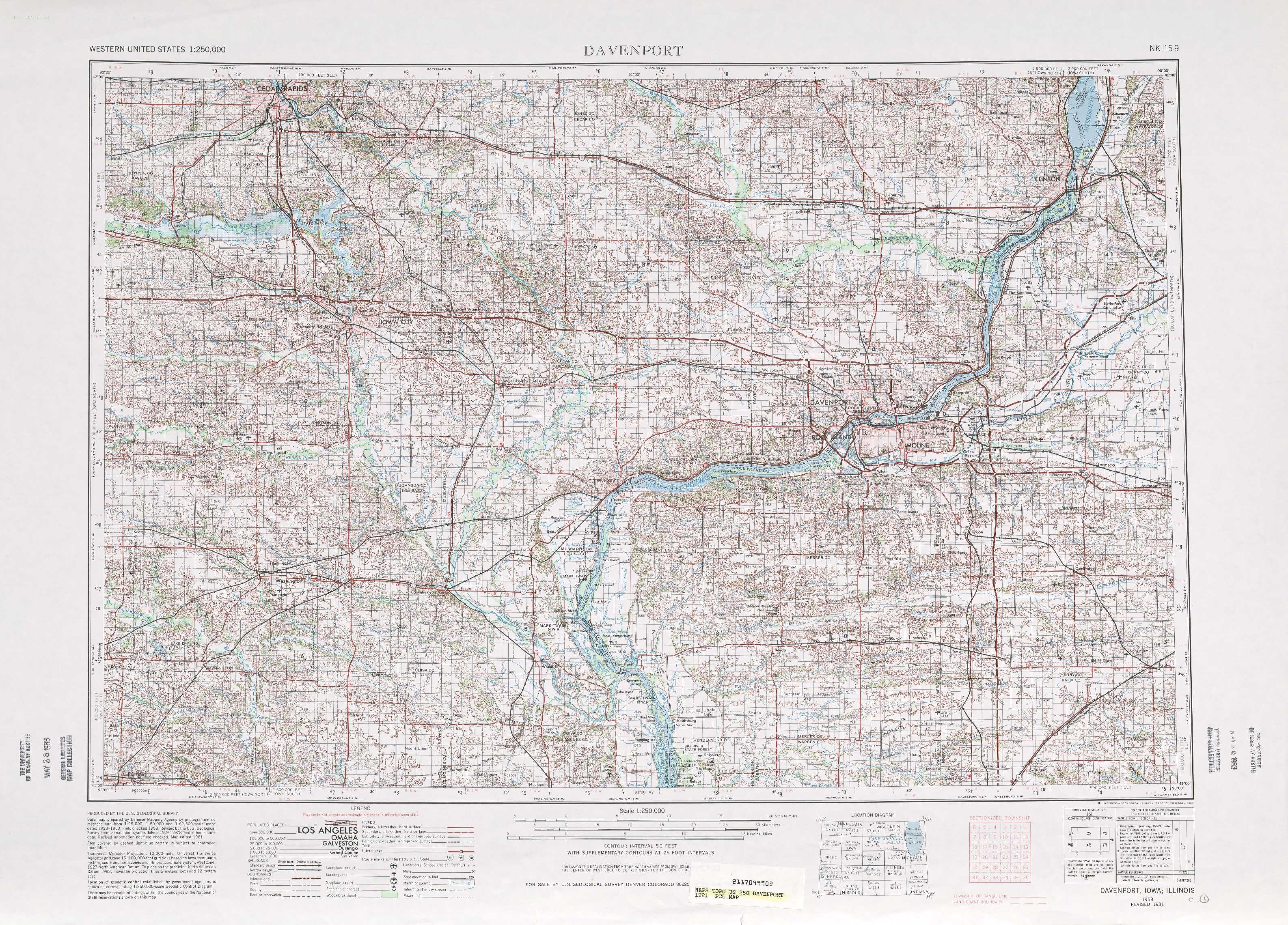 Davenport Topographic Maps Ia Il Usgs Topo Quad 41090a1 At 1
