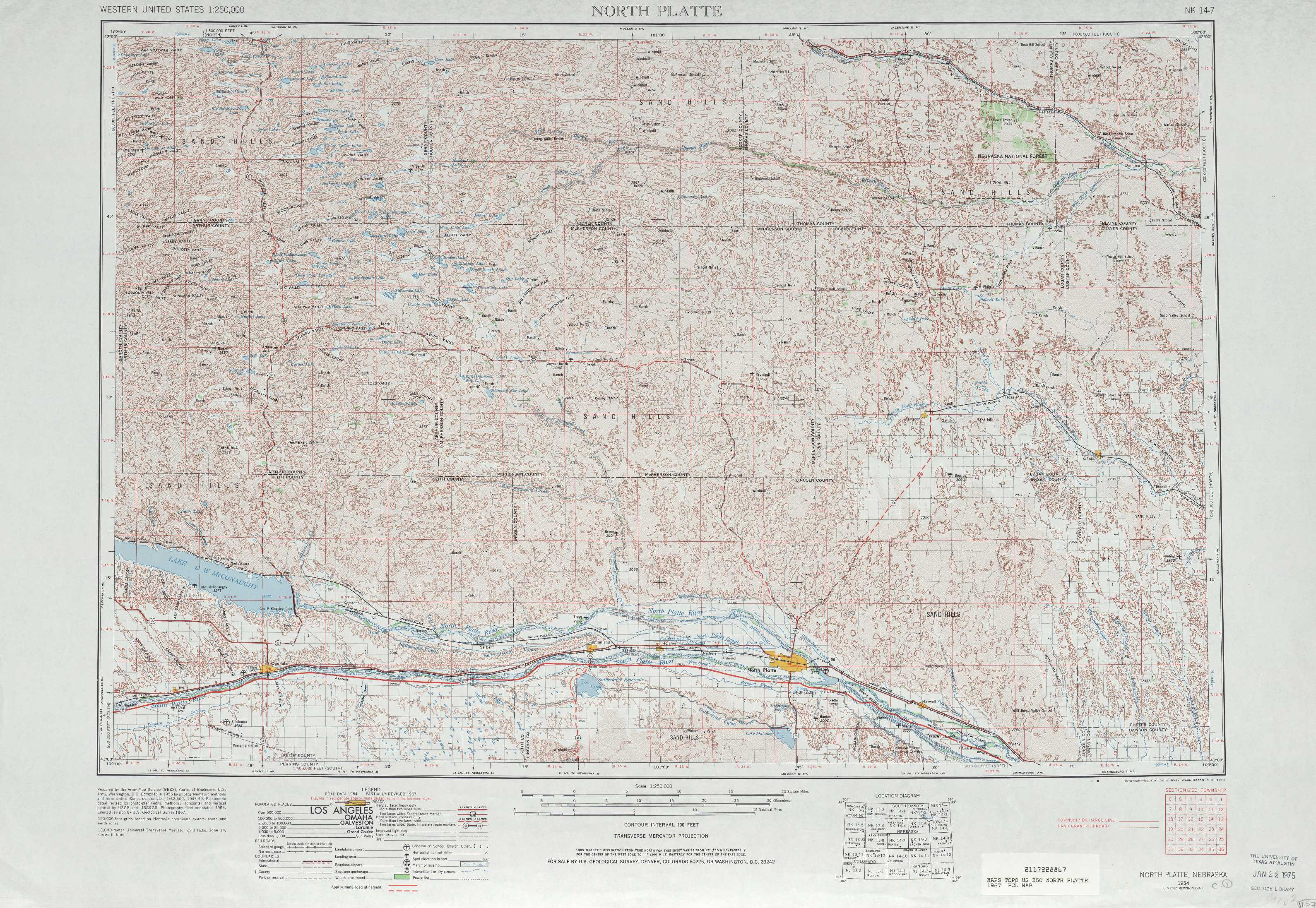 North Platte Topographic Maps Ne Usgs Topo Quad 41100a1