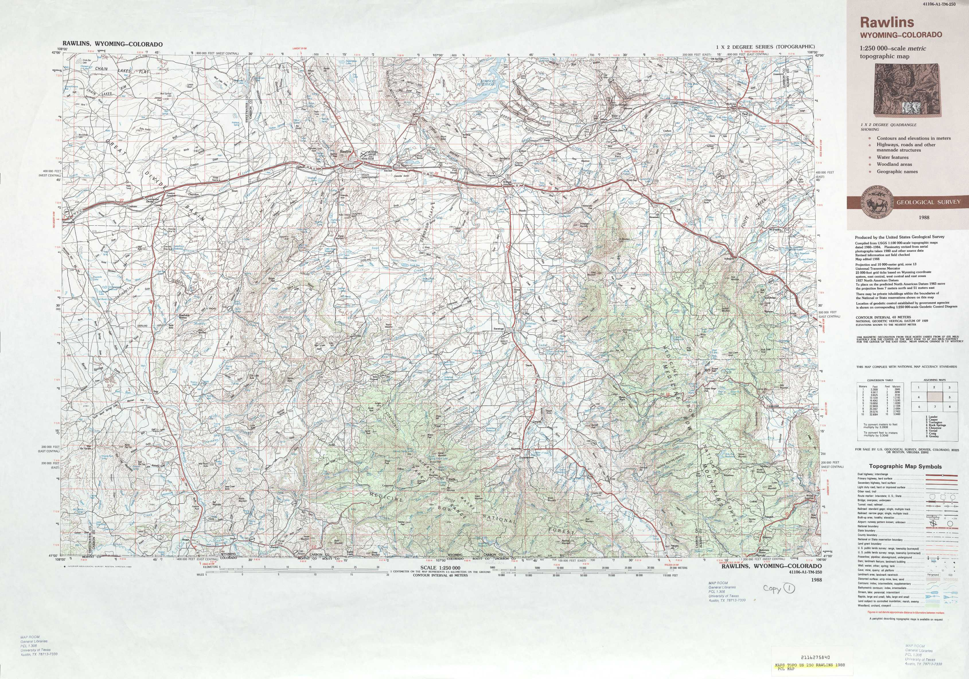 Rawlins topographic maps WY USGS Topo Quad 41106a1 at 1250000 scale