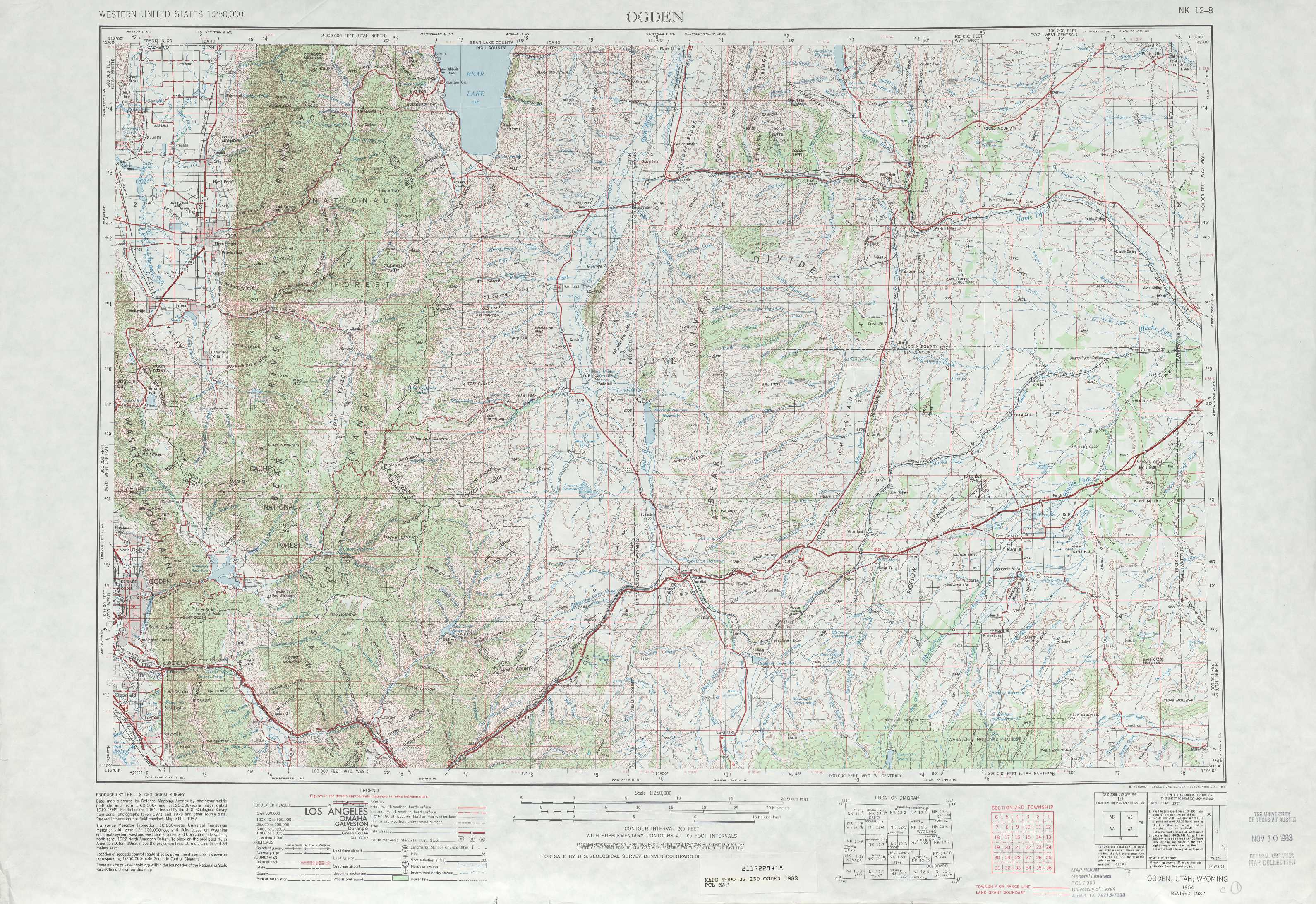 Ogden Topographic Maps WY UT  USGS Topo Quad 41110a1 At