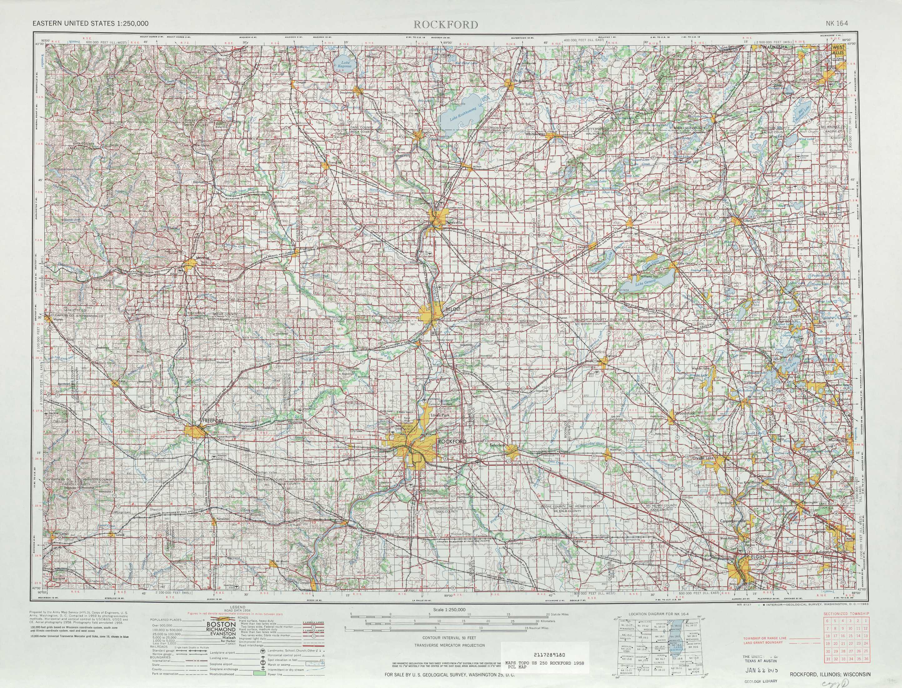 Rockford topographic maps IL WI USGS Topo Quad 42088a1 at 1