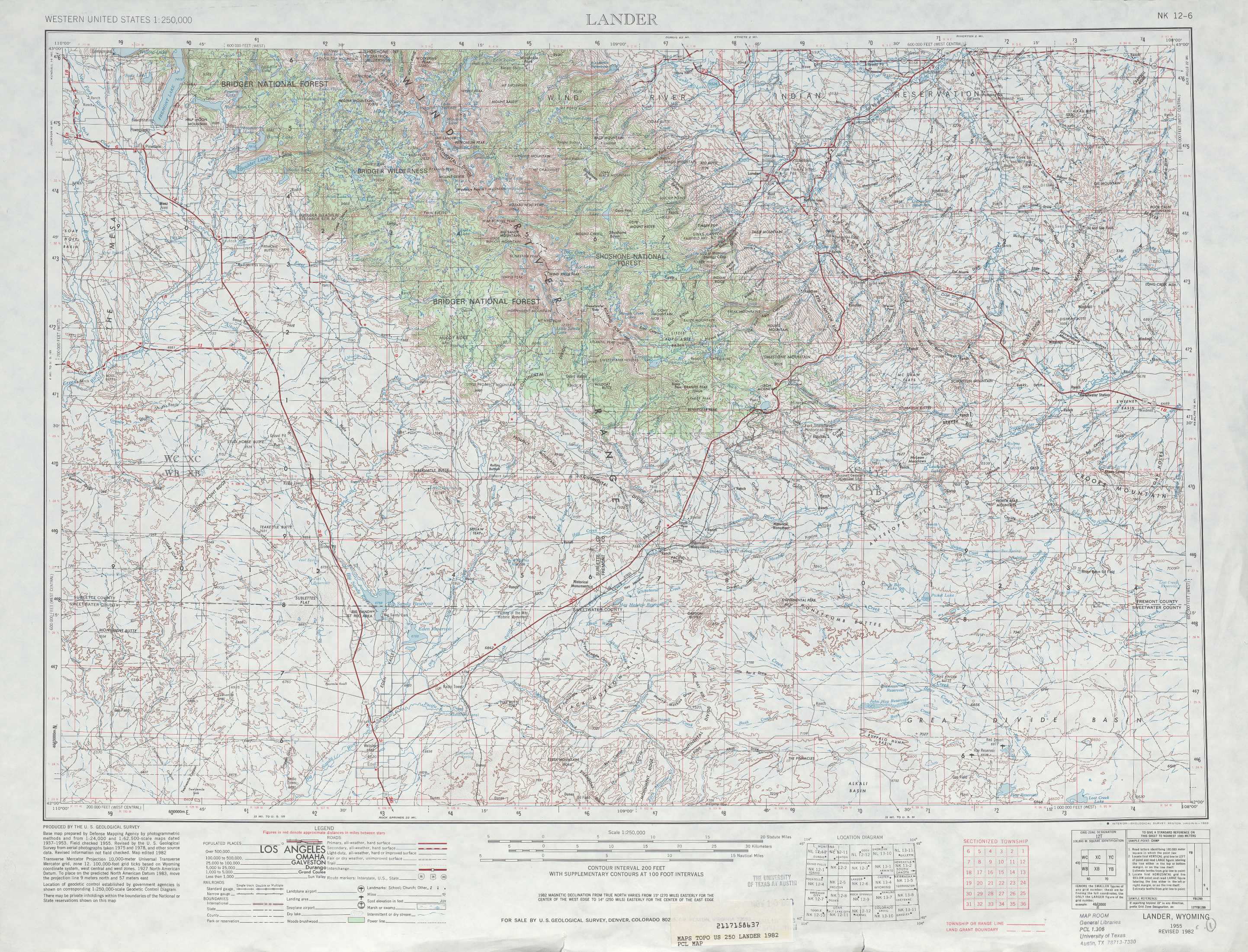 Lander Topographic Maps WY  USGS Topo Quad 42108a1 At 1