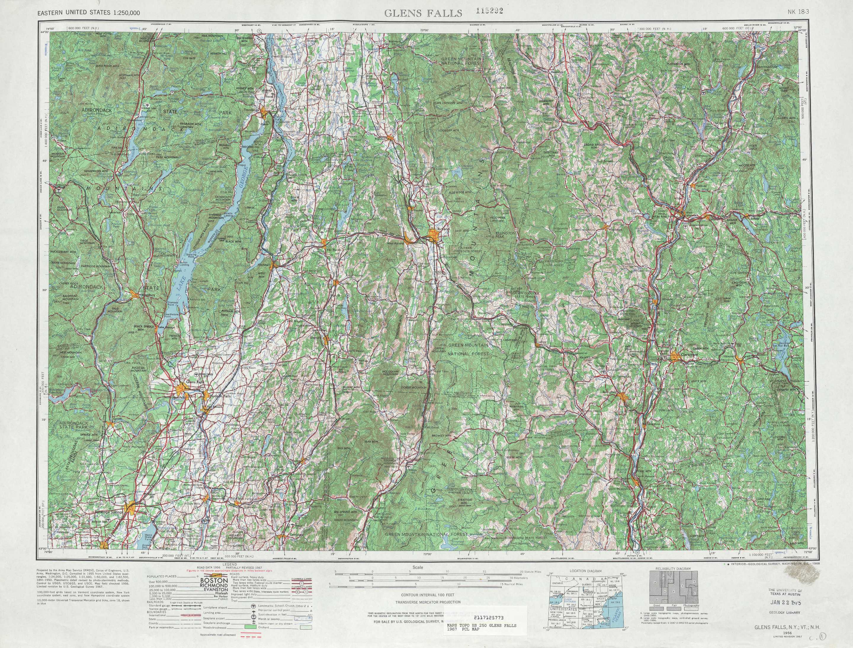 Glens Falls topographic maps, VT, NY, NH - USGS Topo Quad 43072a1 at ...