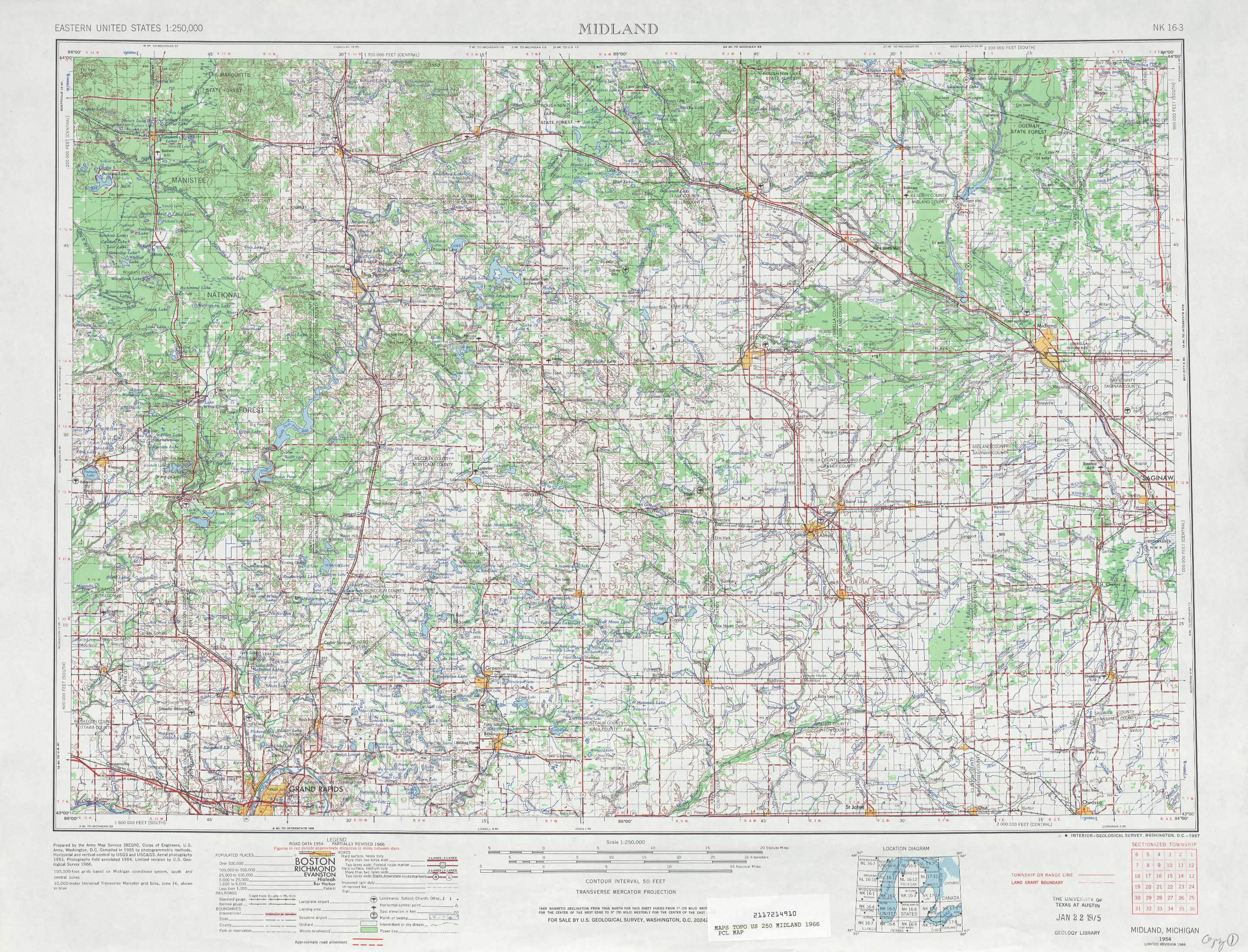 Midland Topographic Maps Mi Usgs Topo Quad 43084a1 At 1 250 000 Scale
