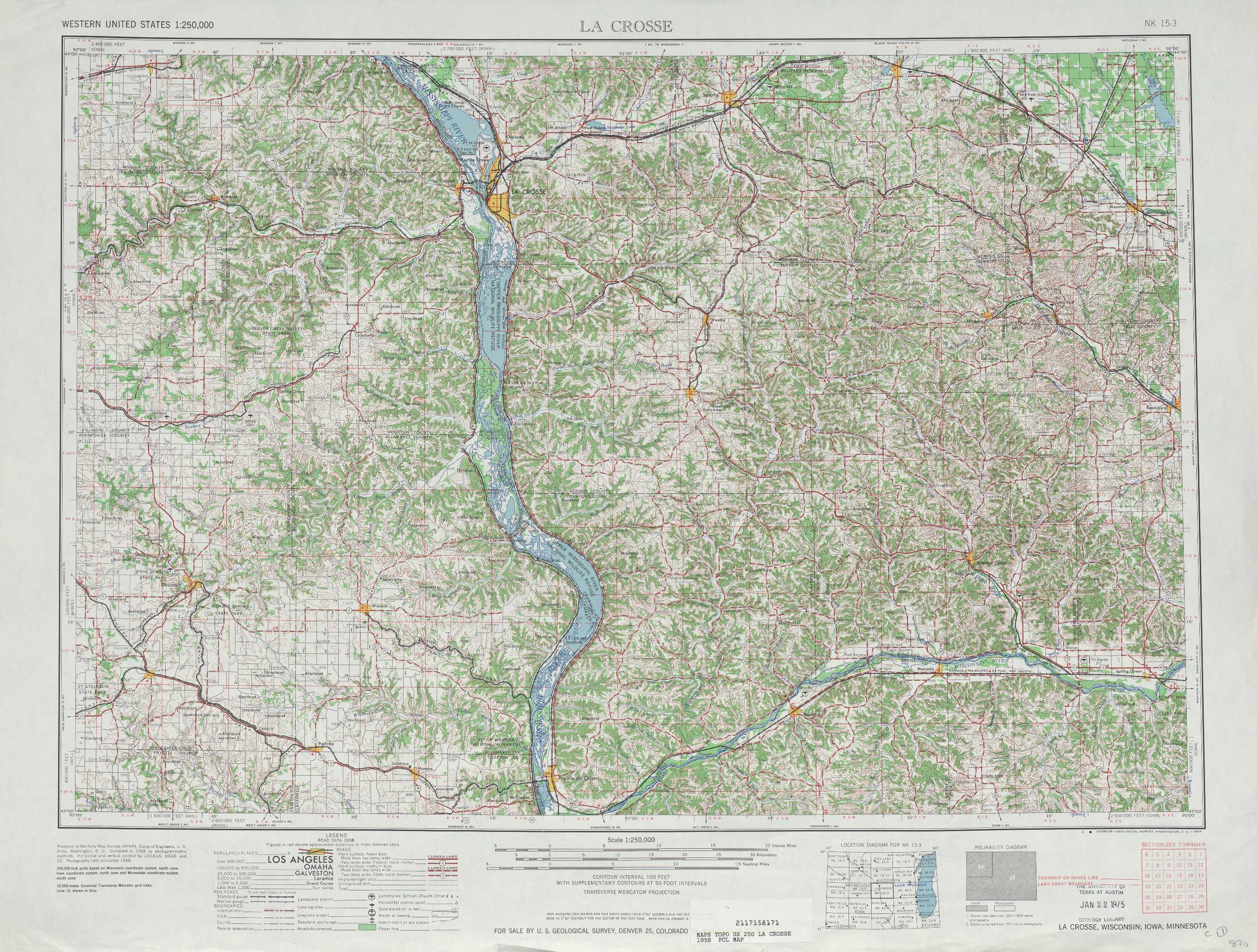 La Crosse Topographic Maps Wi Ia Mn Usgs Topo Quad 43090a1 At 1
