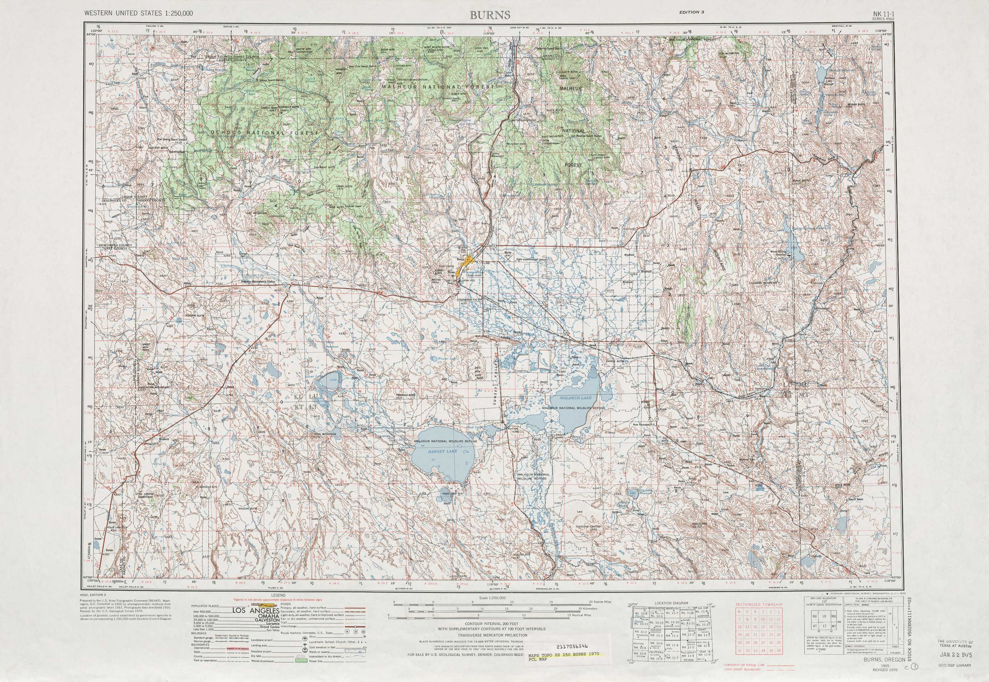 Burns Topographic Maps OR  USGS Topo Quad 43118a1 At 1