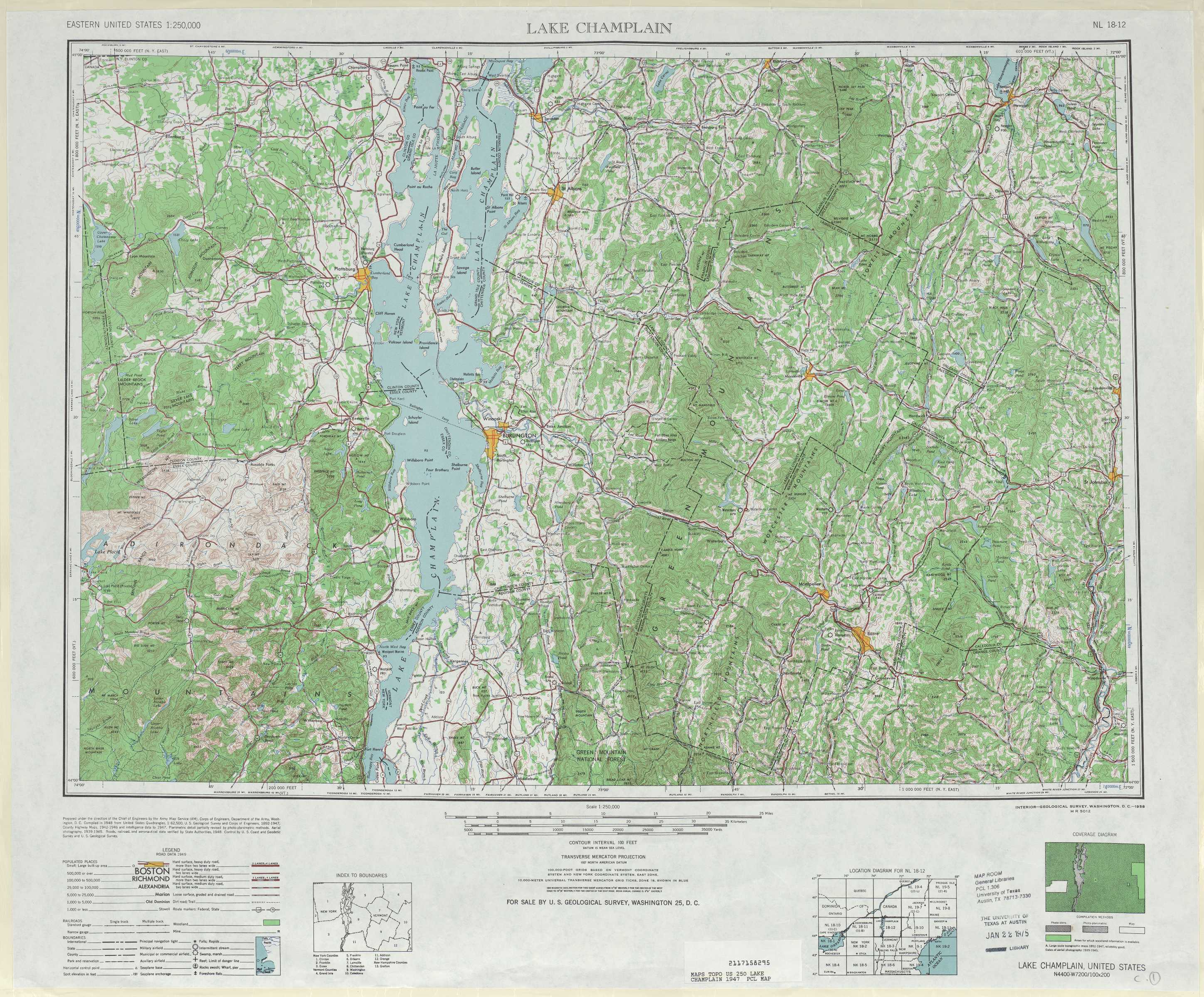 Lake Champlain topographic maps VT NY NH USGS Topo Quad 44072a1 at 1 250
