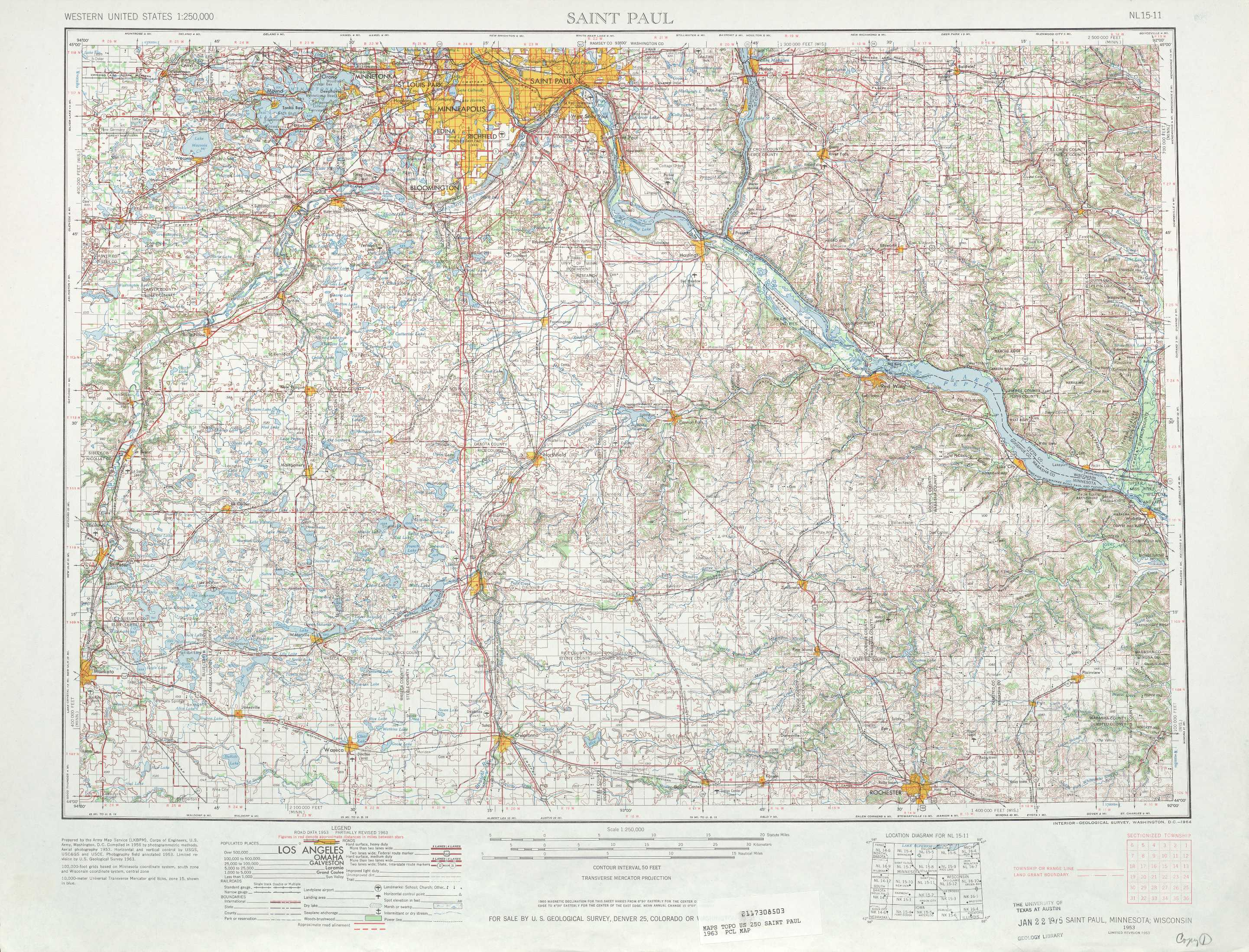 St Paul topographic maps MN WI USGS Topo Quad 44092a1 at 1 250 000 scale