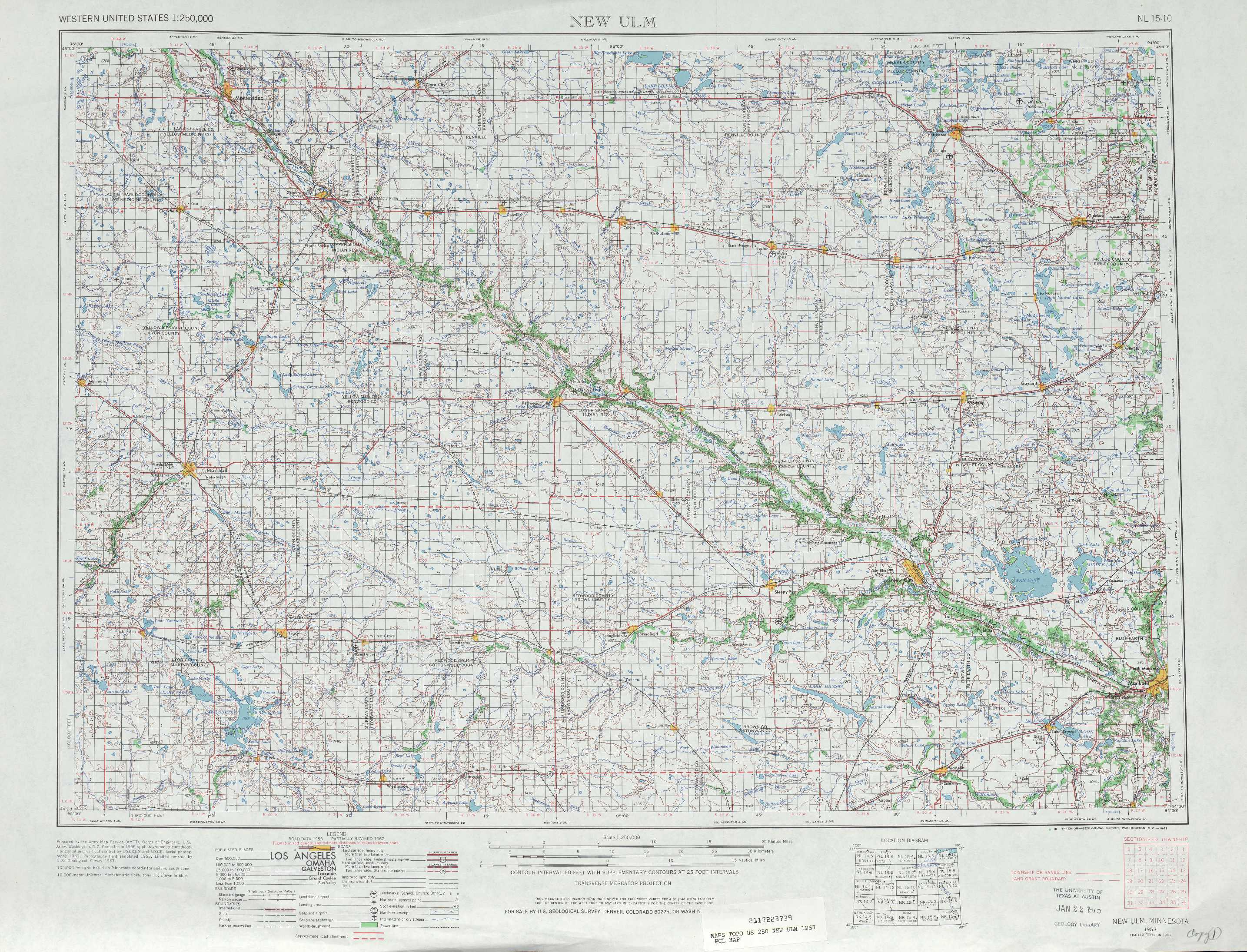 New Ulm topographic maps MN USGS Topo Quad 44094a1 at 1250000 scale