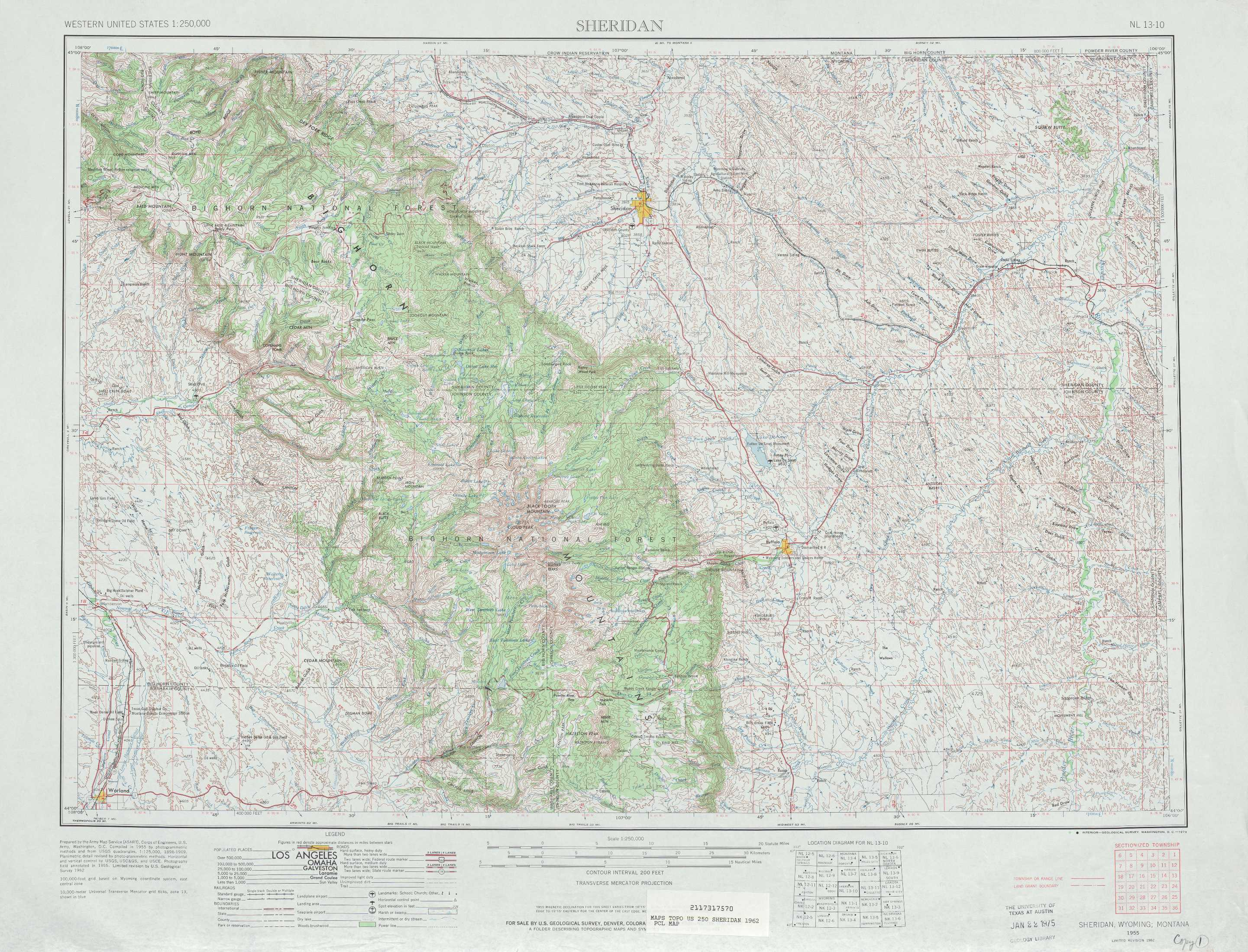 Sheridan Topographic Maps WY  USGS Topo Quad 44106a1 At