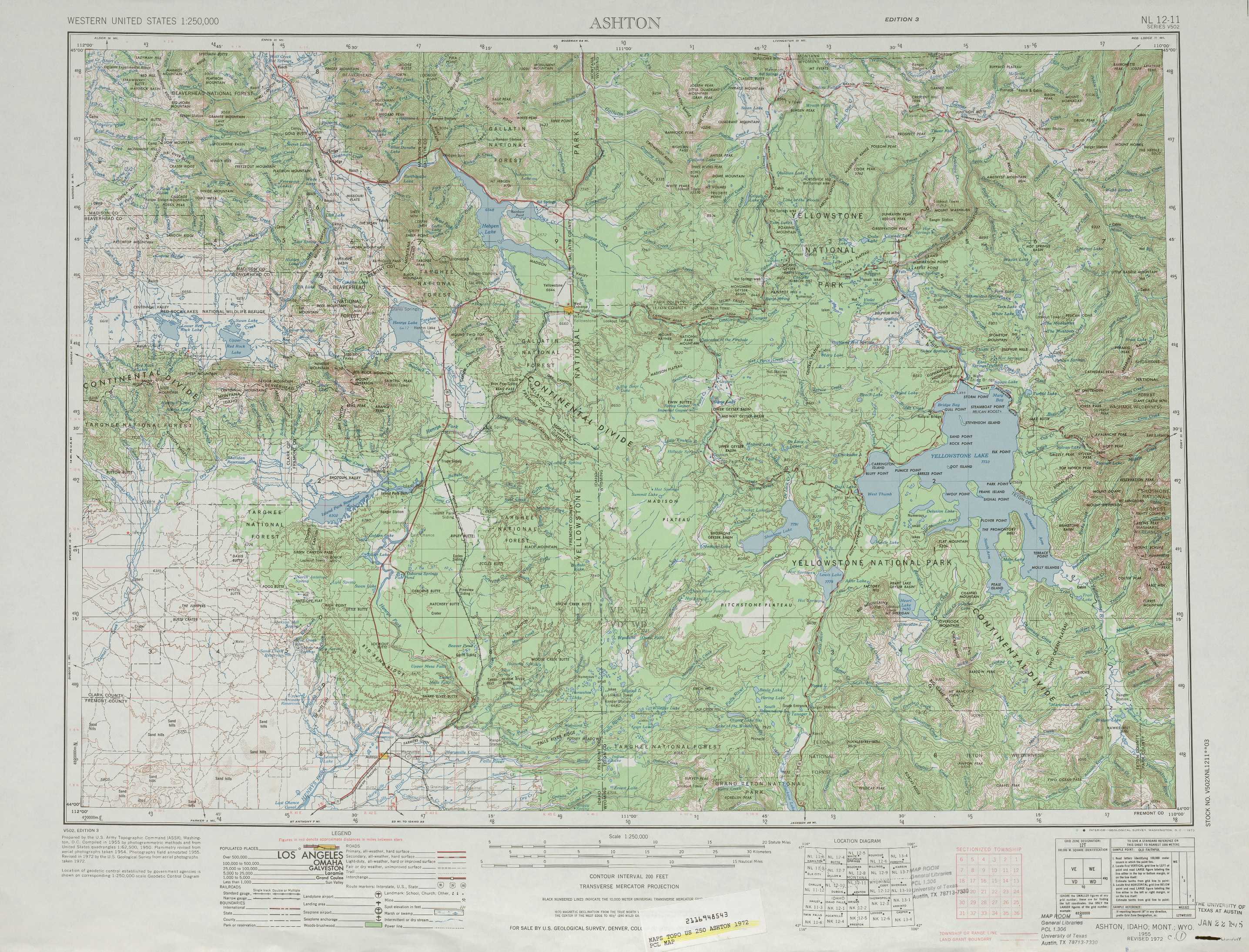 Ashton Topographic Maps WY ID MT USGS Topo Quad A At - Map of montana and wyoming
