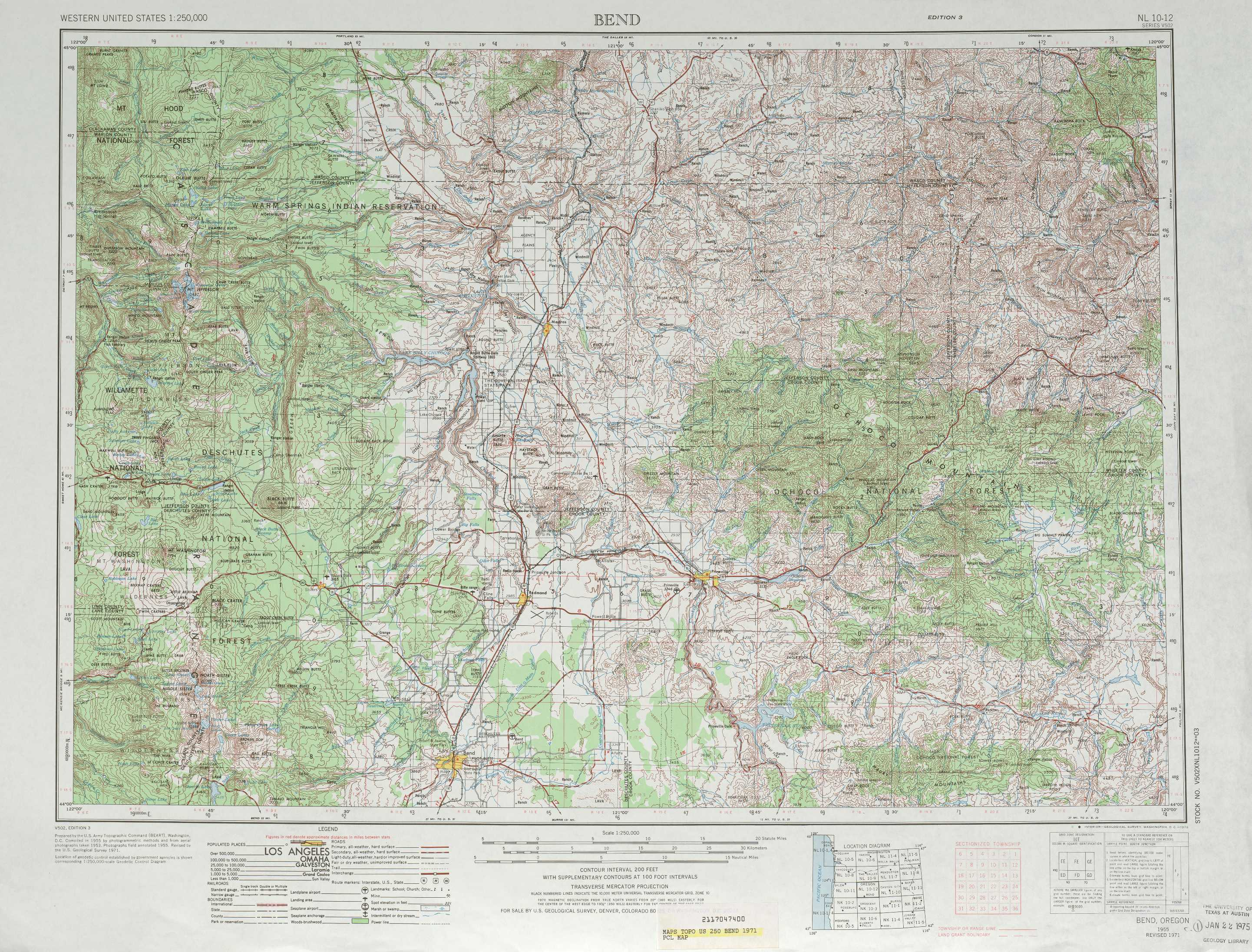 Bend Topographic Maps OR USGS Topo Quad A At Scale - Oregon topographic map