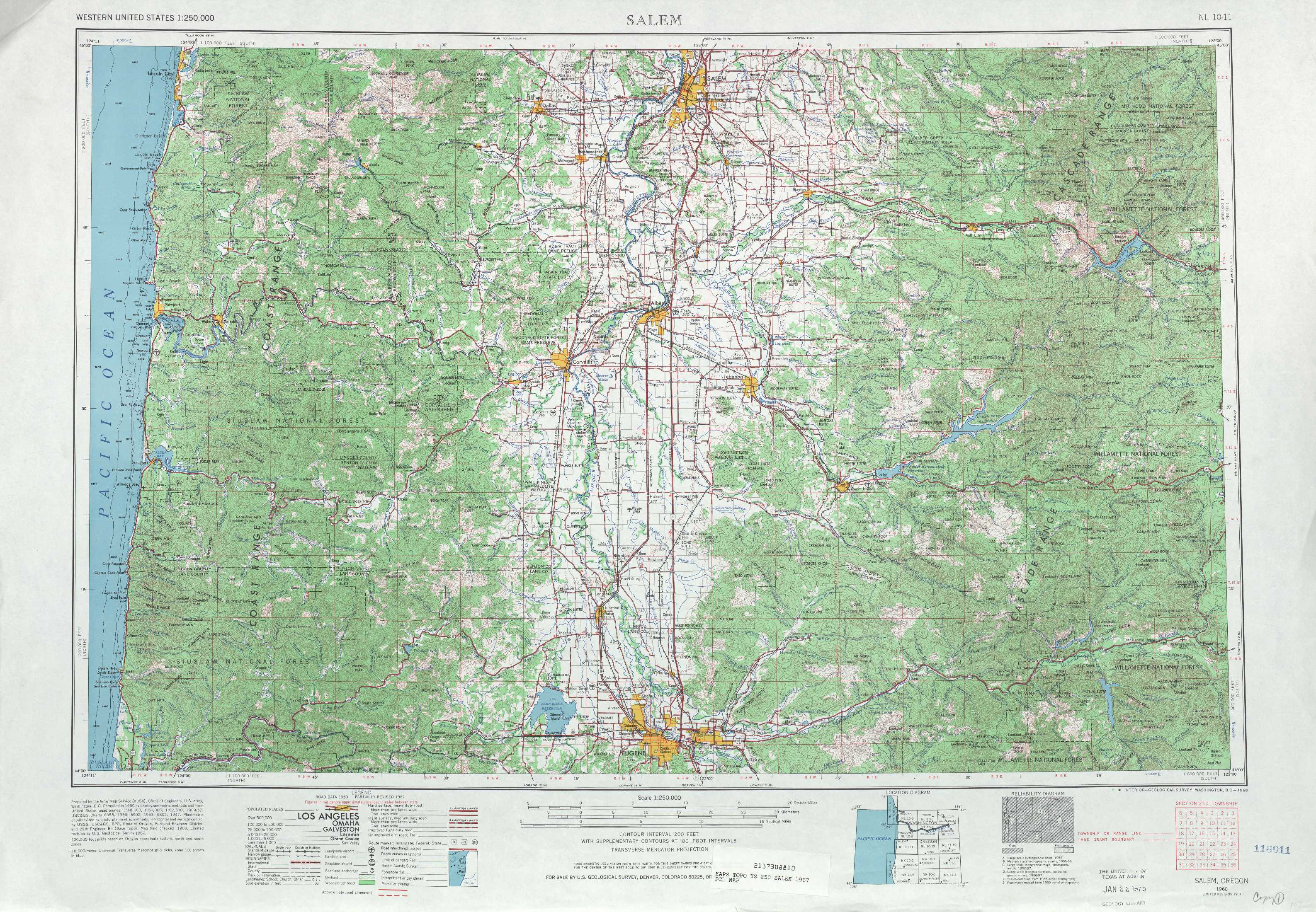 West of Salem topographic maps OR USGS Topo Quad 44124a1 at 1 250 000 scale