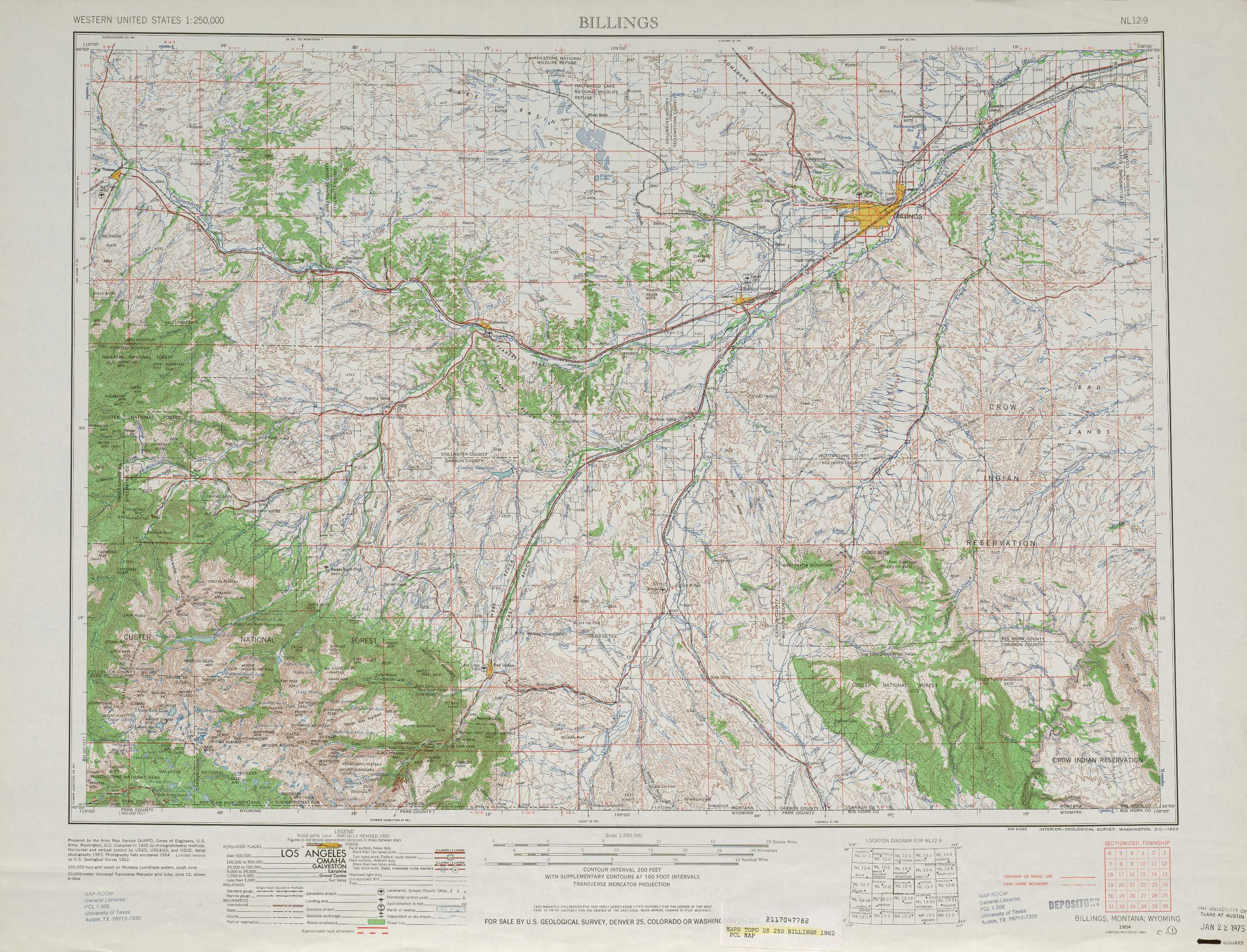 Billings topographic maps MT USGS Topo Quad 45108a1 at 1250000