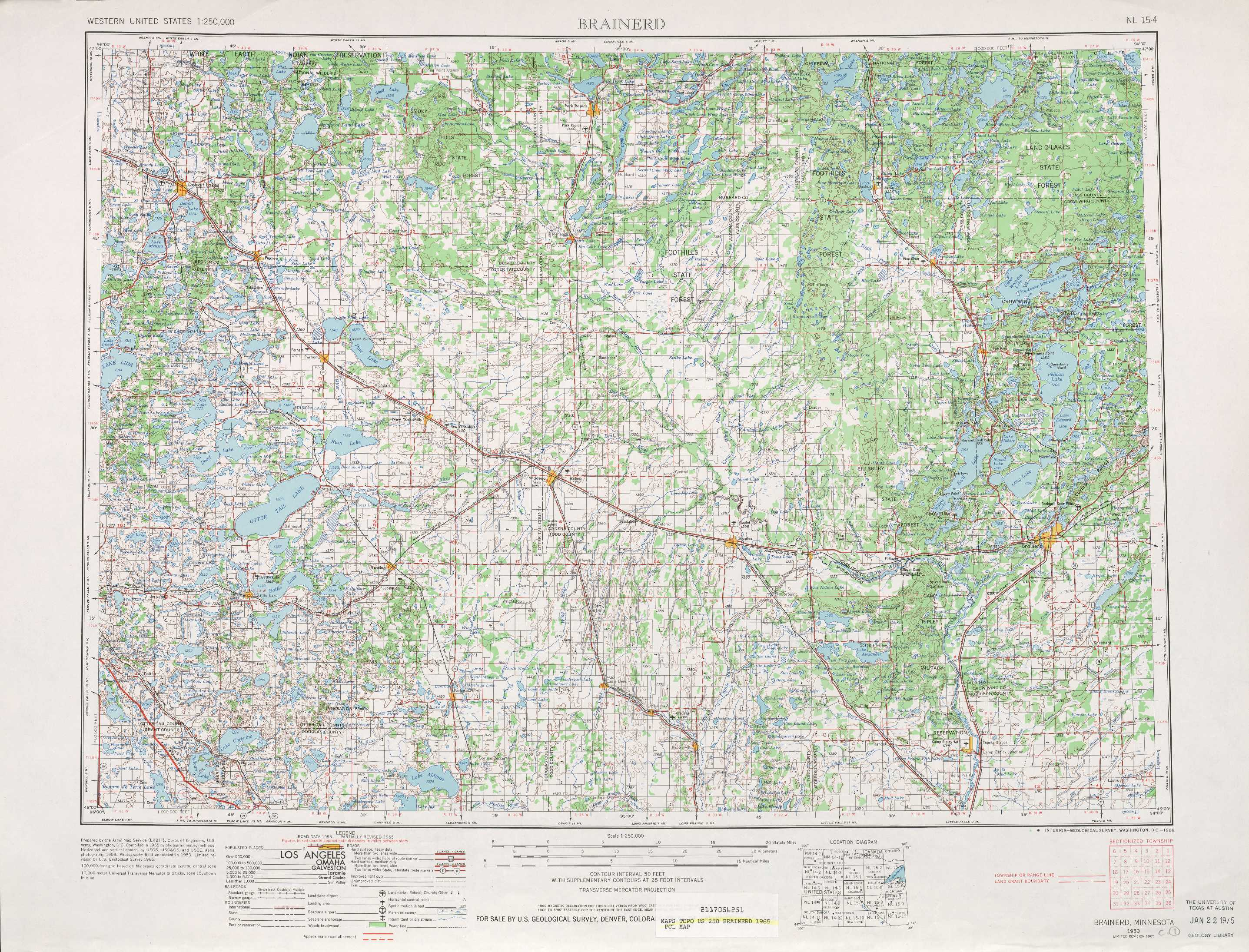 Brainerd Topographic Maps MN  USGS Topo Quad 46094a1 At