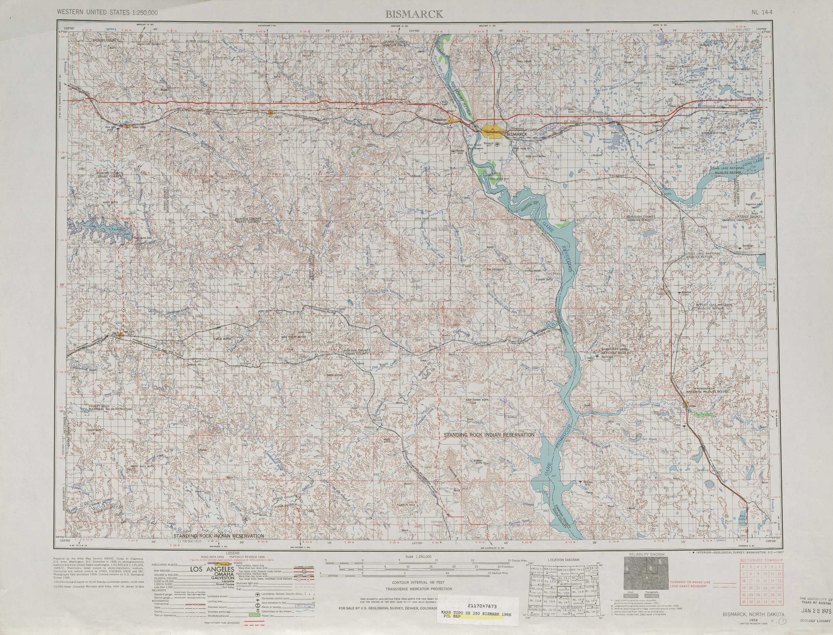 Bismarck Topographic Maps ND  USGS Topo Quad 46100a1 At