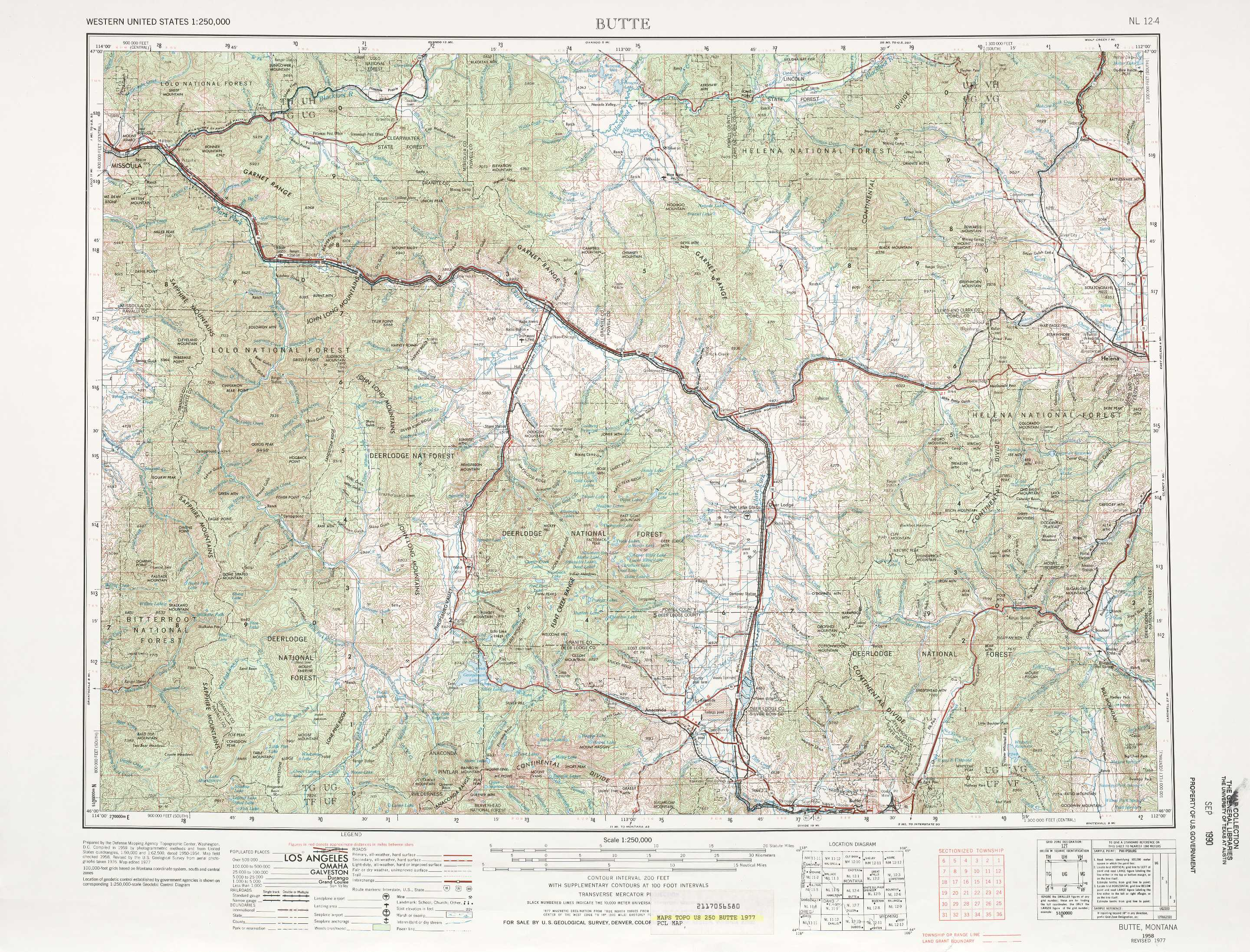 Butte Topographic Maps Mt Usgs Topo Quad 46112a1 At 1 250 000 Scale