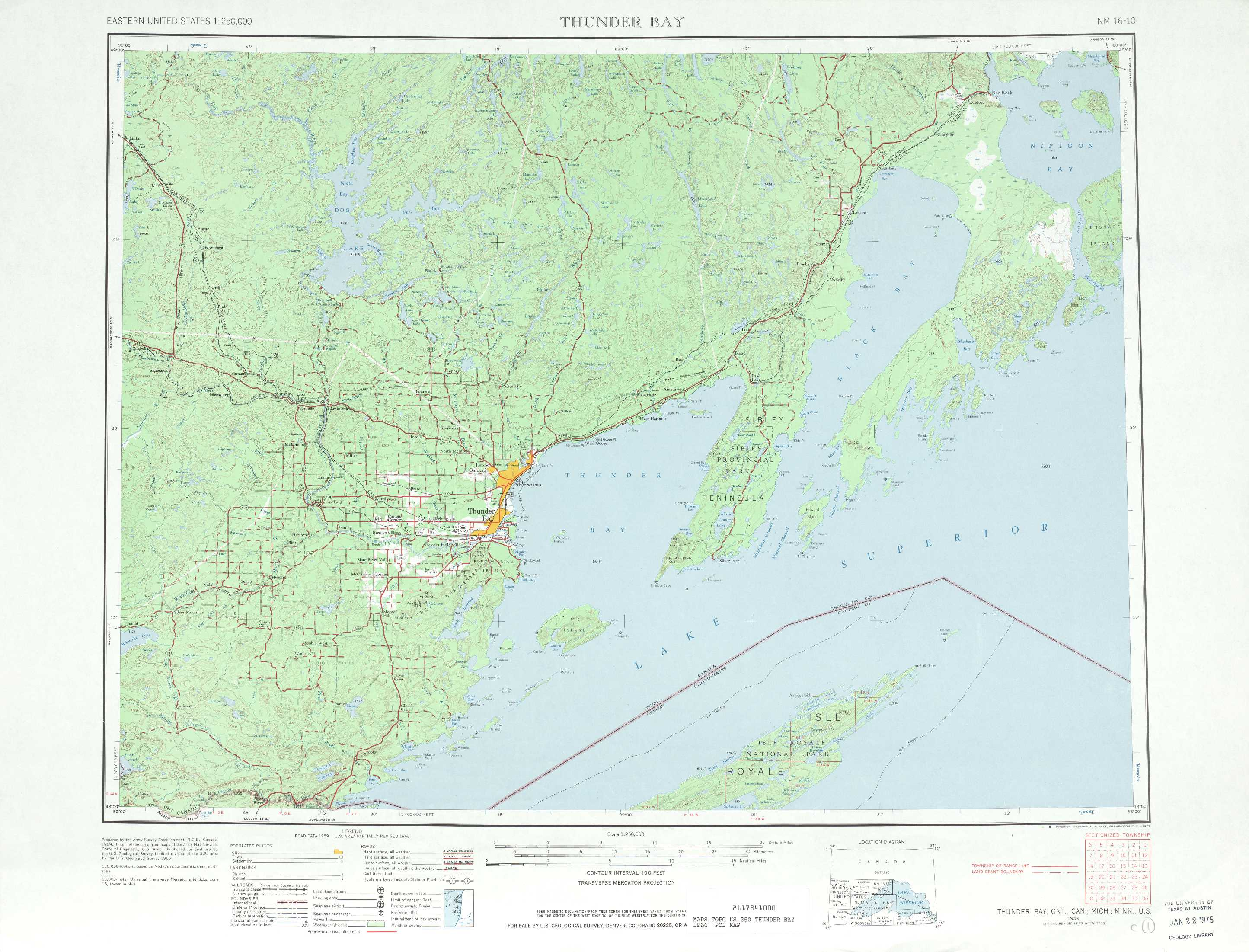 Thunder Bay topographic maps MI MN USGS Topo Quad 48088a1 at 1
