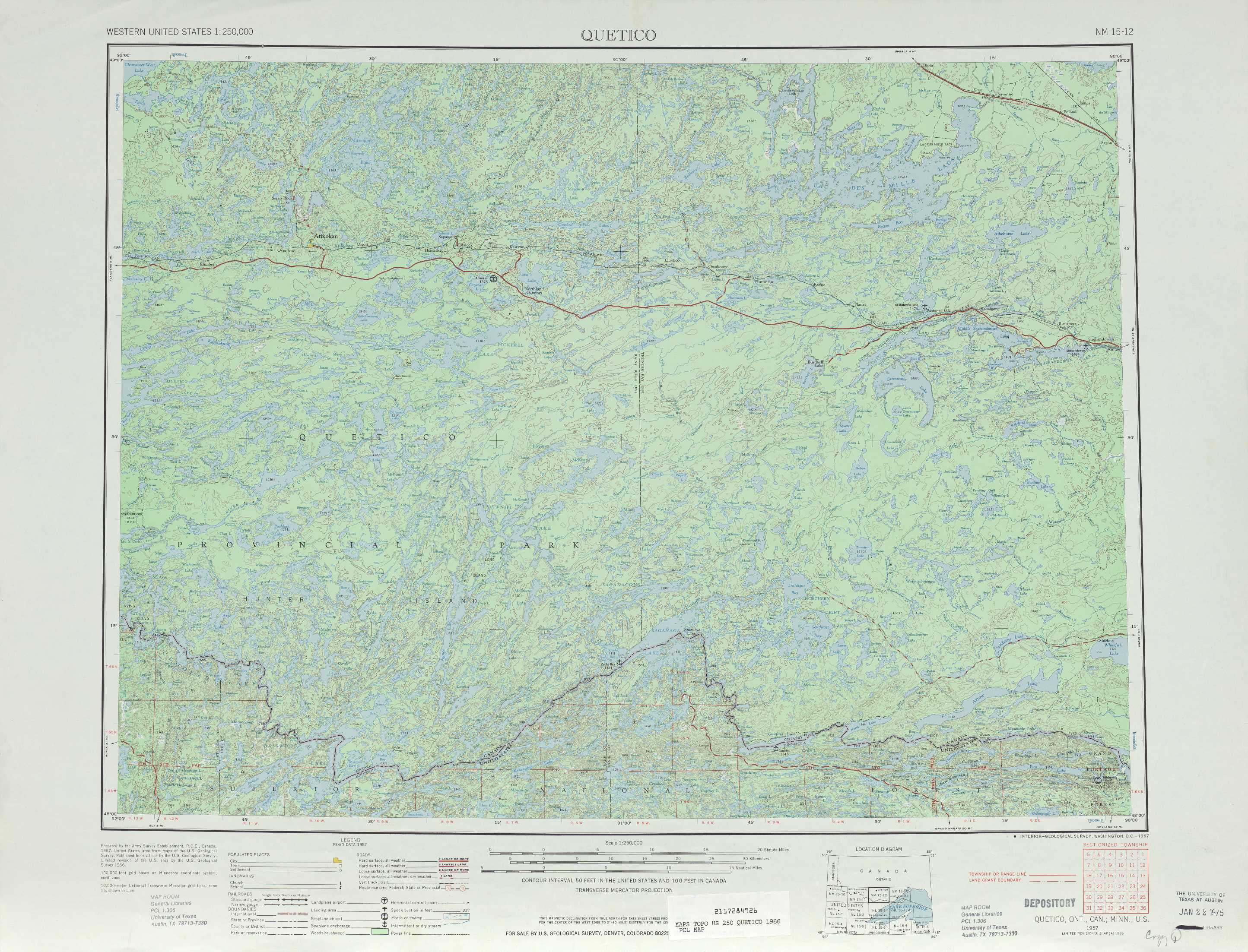 Quetico topographic maps, MN - USGS Topo Quad 48090a1 at 1:250,000 on