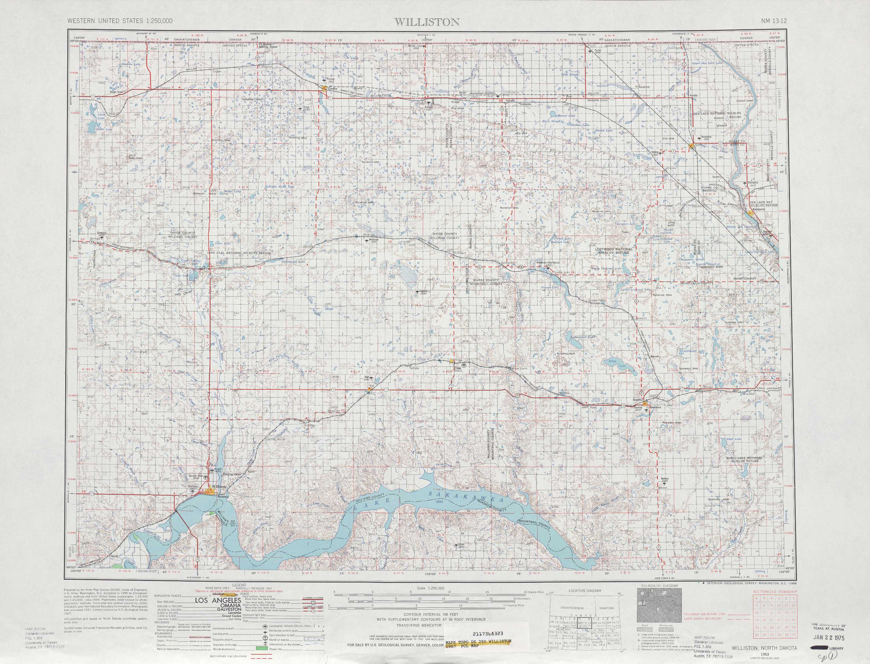 Williston topographic maps ND USGS Topo Quad 48102a1 at 1250000