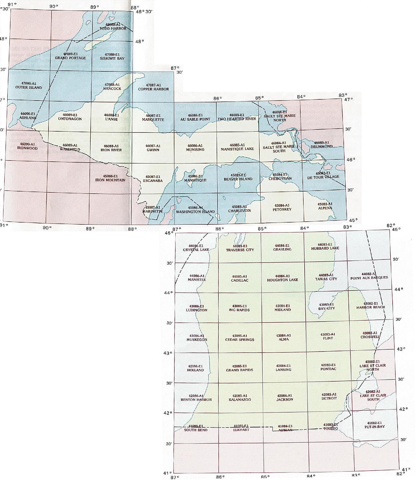 Michigan Topographic Index Maps Mi State Usgs Topo Quads