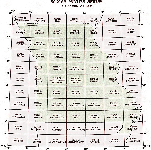 topographic maps of missouri. Missouri Topographic Index