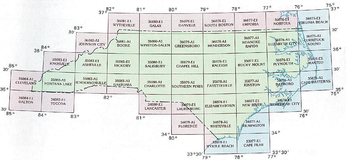 North Carolina Topographic Index Maps Nc State Usgs Topo Quads