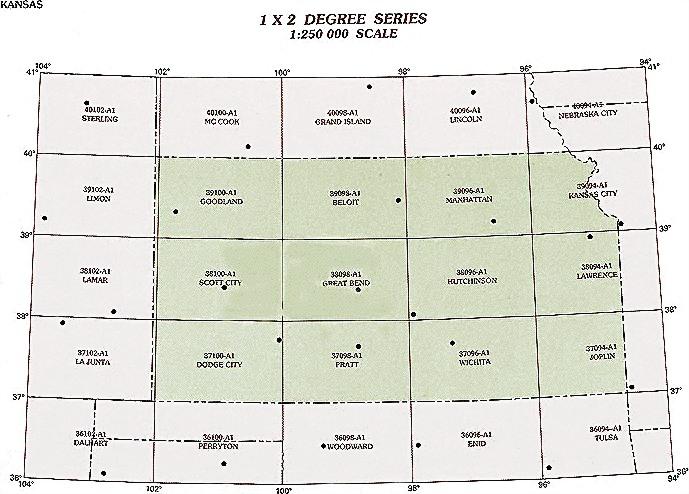 Kansas Topographic Index Maps KS State USGS Topo Quads K - Latitude and longitude of kansas