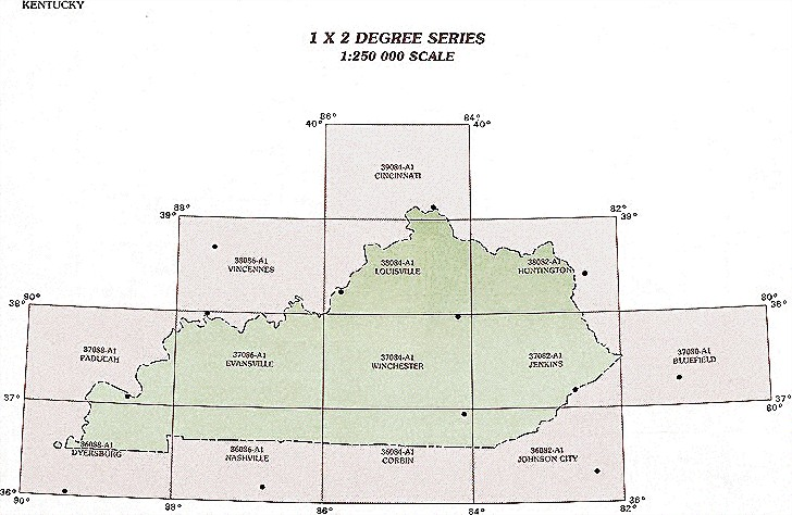 Kentucky Topographic Index Maps KY State USGS Topo Quads K - Kentucky map latitude longitude