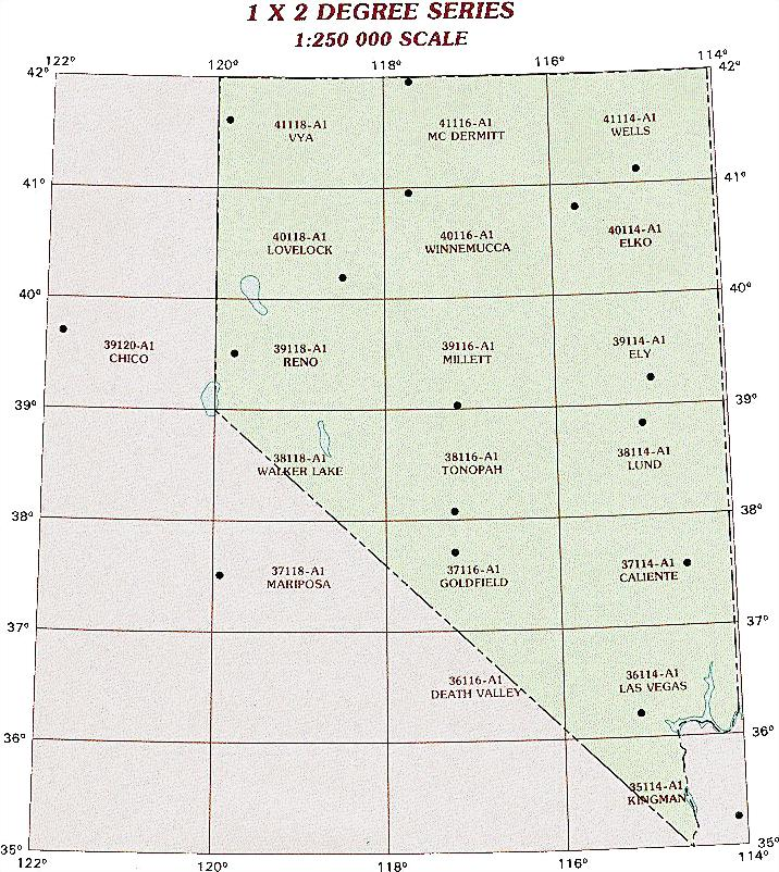 Nevada Topographic Index Maps NV State USGS Topo Quads K - Map of nv